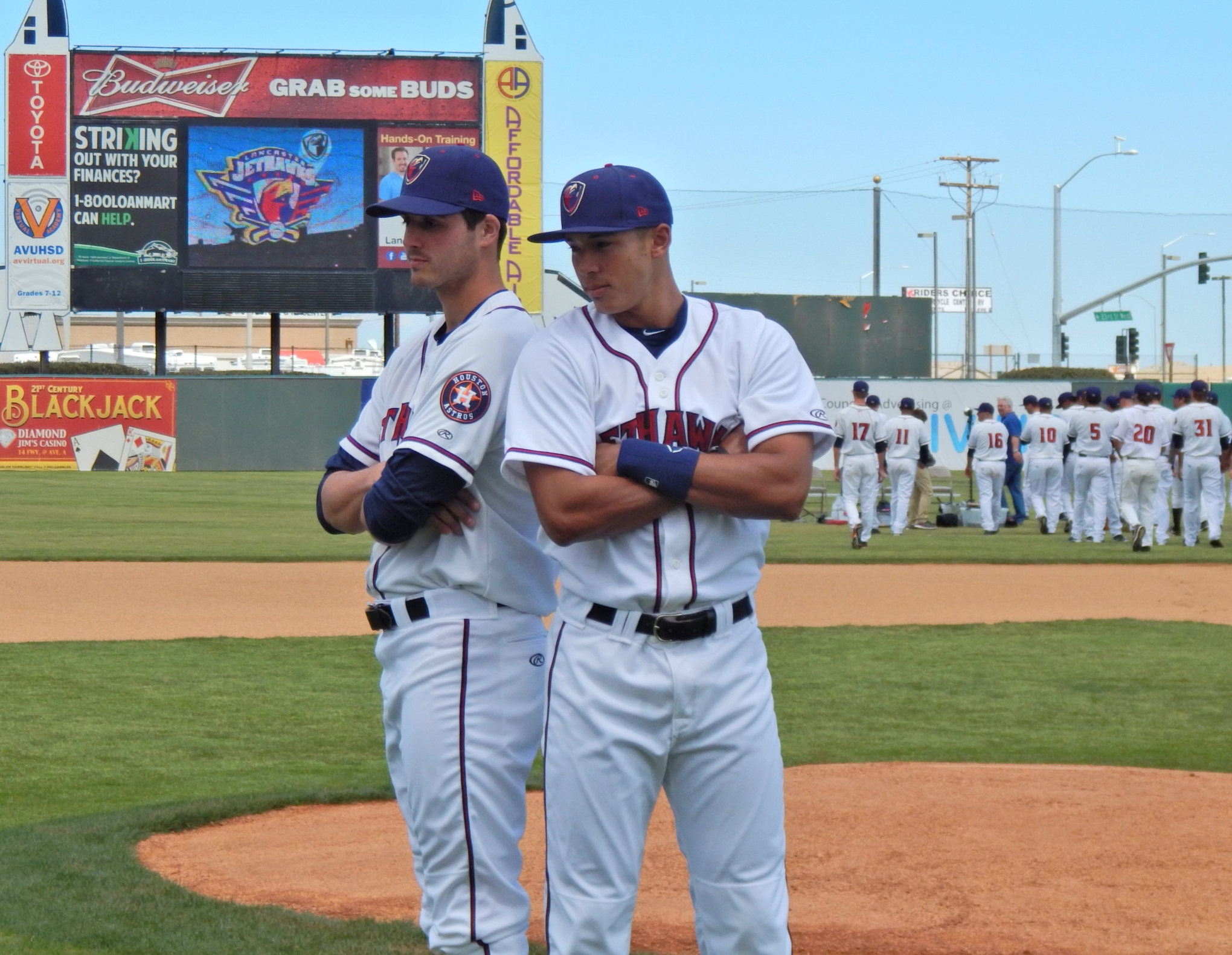 Carlos Correa and Mark Appel pose together during the Lancaster Jethawks Media Day.