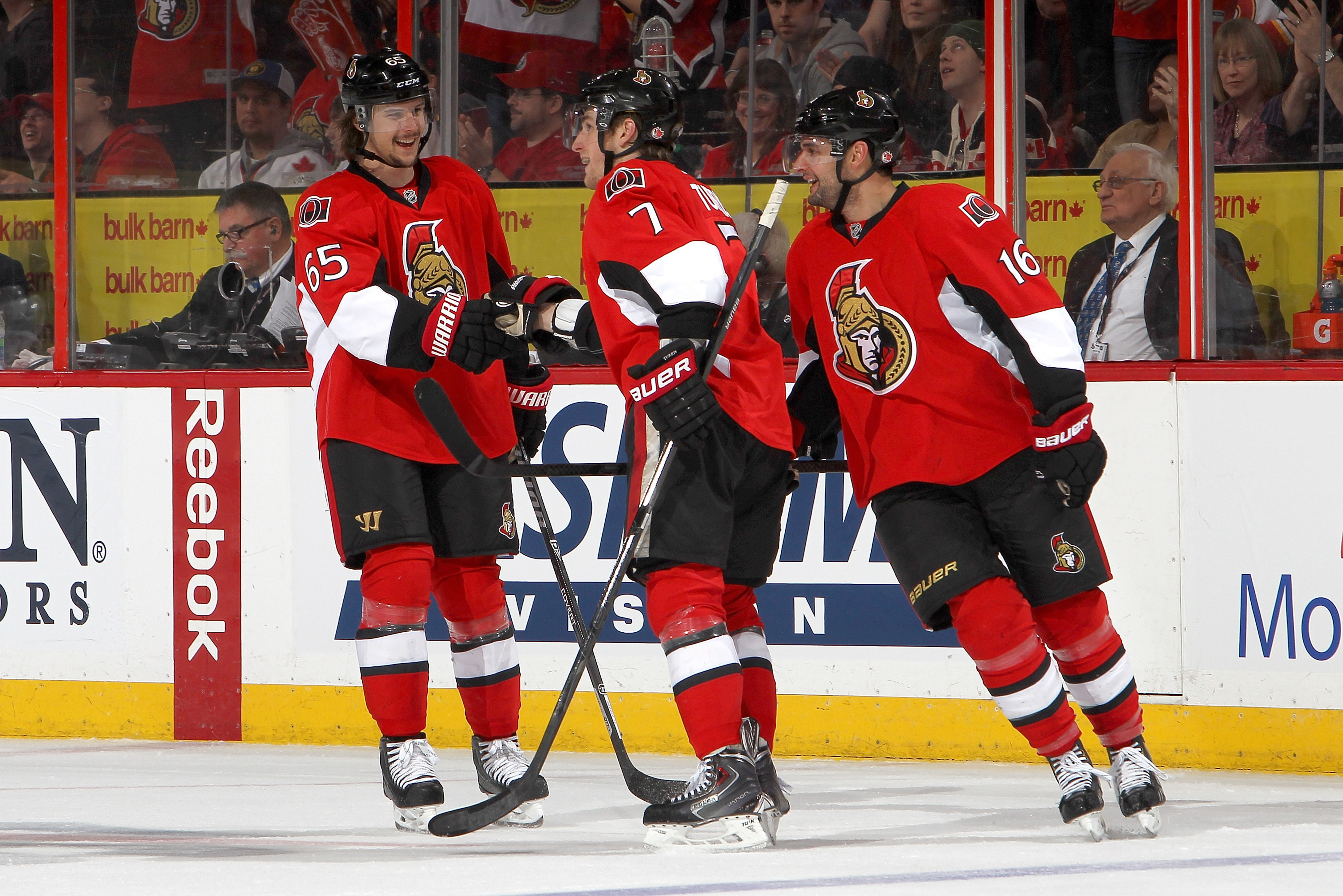 Pictured from left to right: everything that is good in the Sens universe.