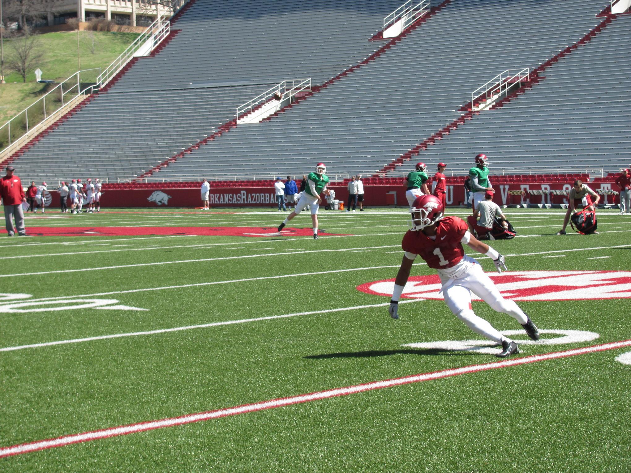 Jared Cornelius catching passes at Arkansas' scrimmage on April 5th, 2014