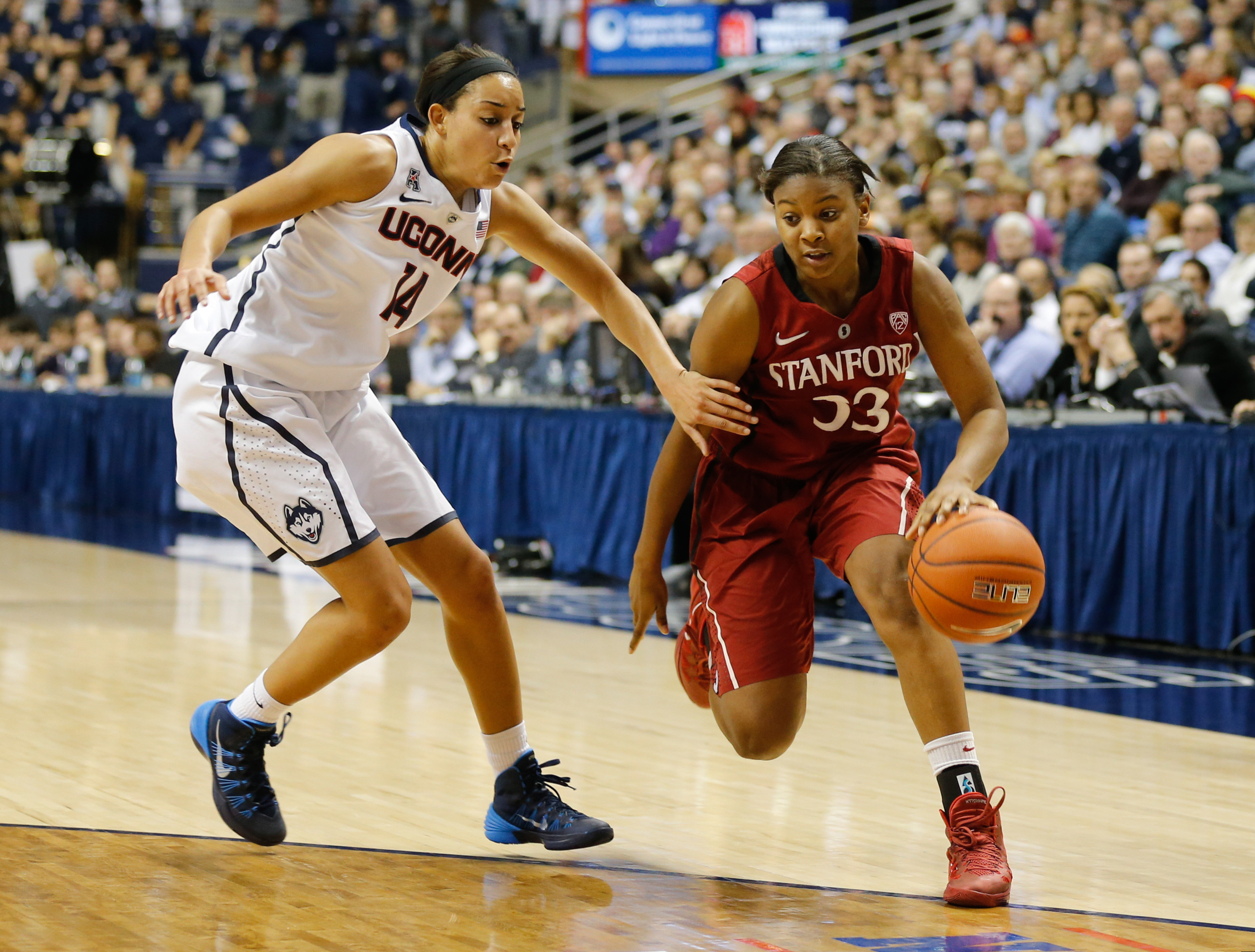 Both Bria Hartley and Amber Orrange had excellent games in a November meeting between UConn and Stanford.