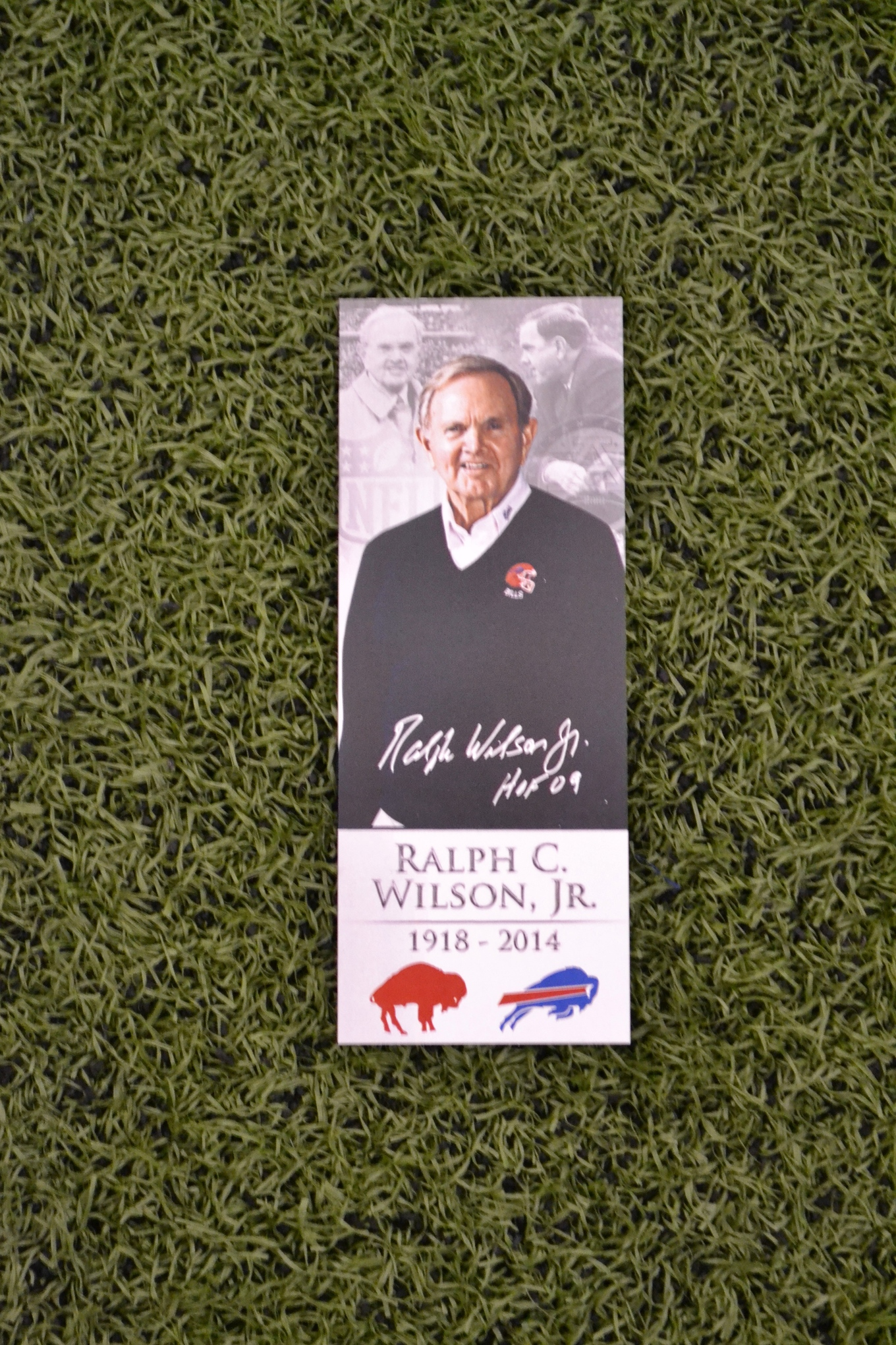 A remembrance card available to visitors at Ralph Wilson's memorial event hosted by the Buffalo Bills. (April 5, 2014)