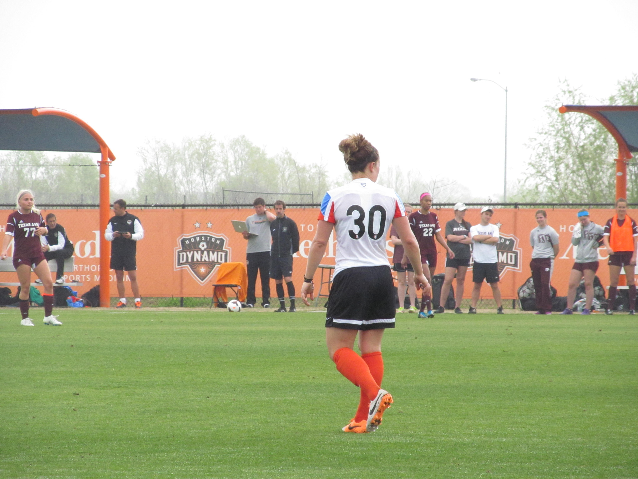 Ella Masar surveys the field in a game against Texas A&m