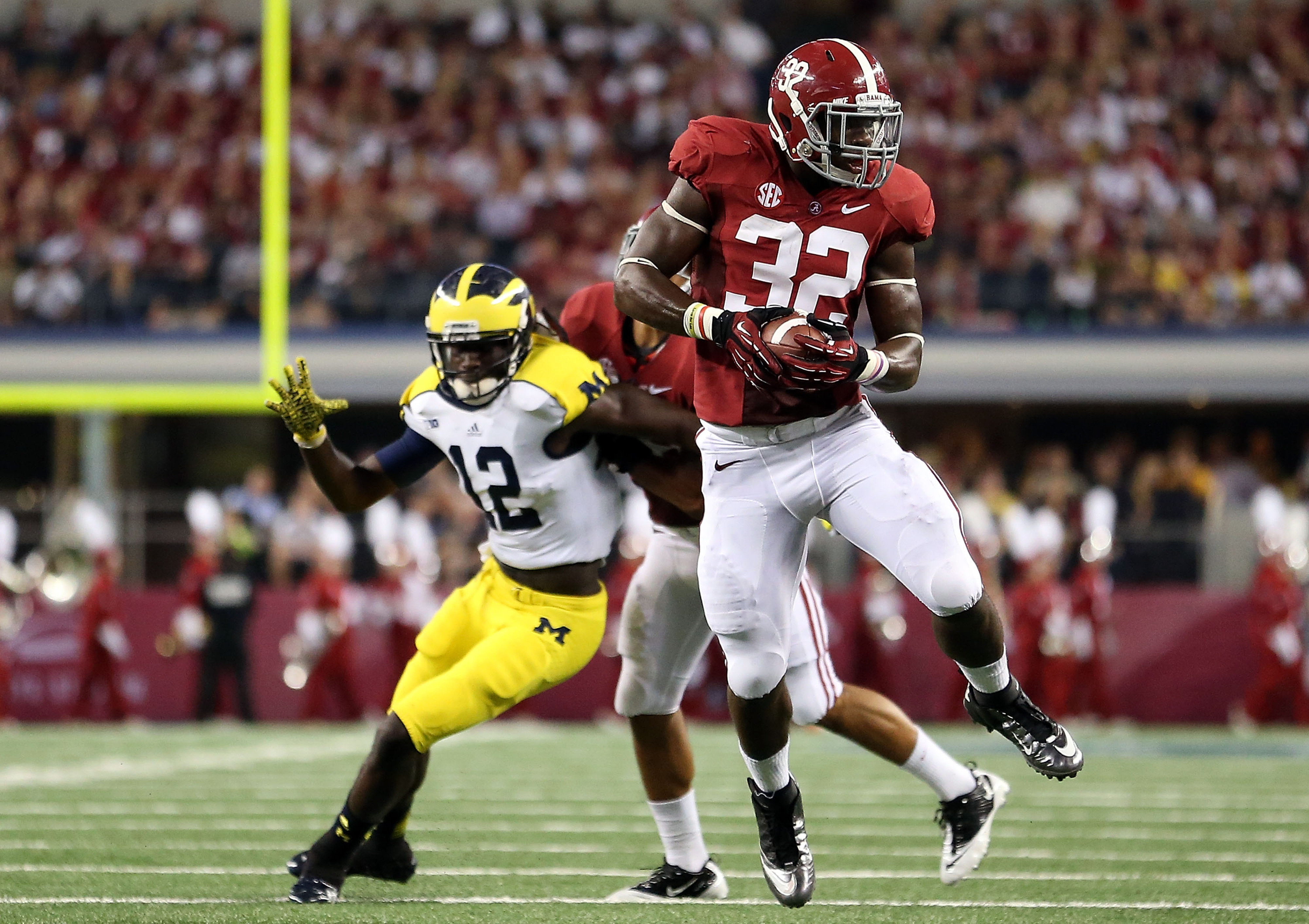 C.J. Mosley (32) intercepts a pass against Michigan. because Mosley is awesome, and Michigan sucks.