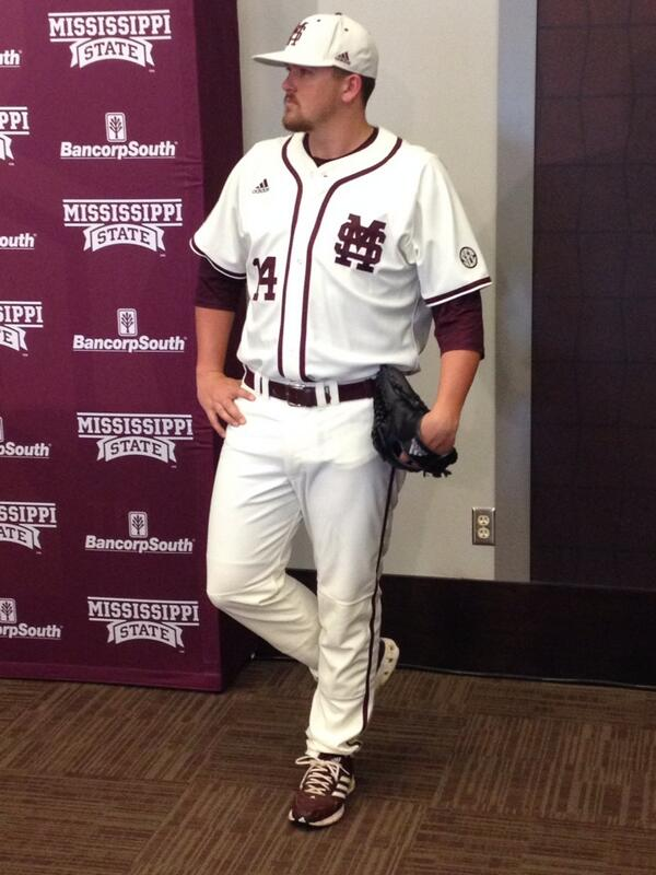 """MSU closer Jonathan """"The Trim Reaper"""" Holder sporting the new threads for this weekend"""