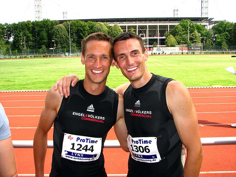 Two German sprinters at the Cologne track at Gay Games 8