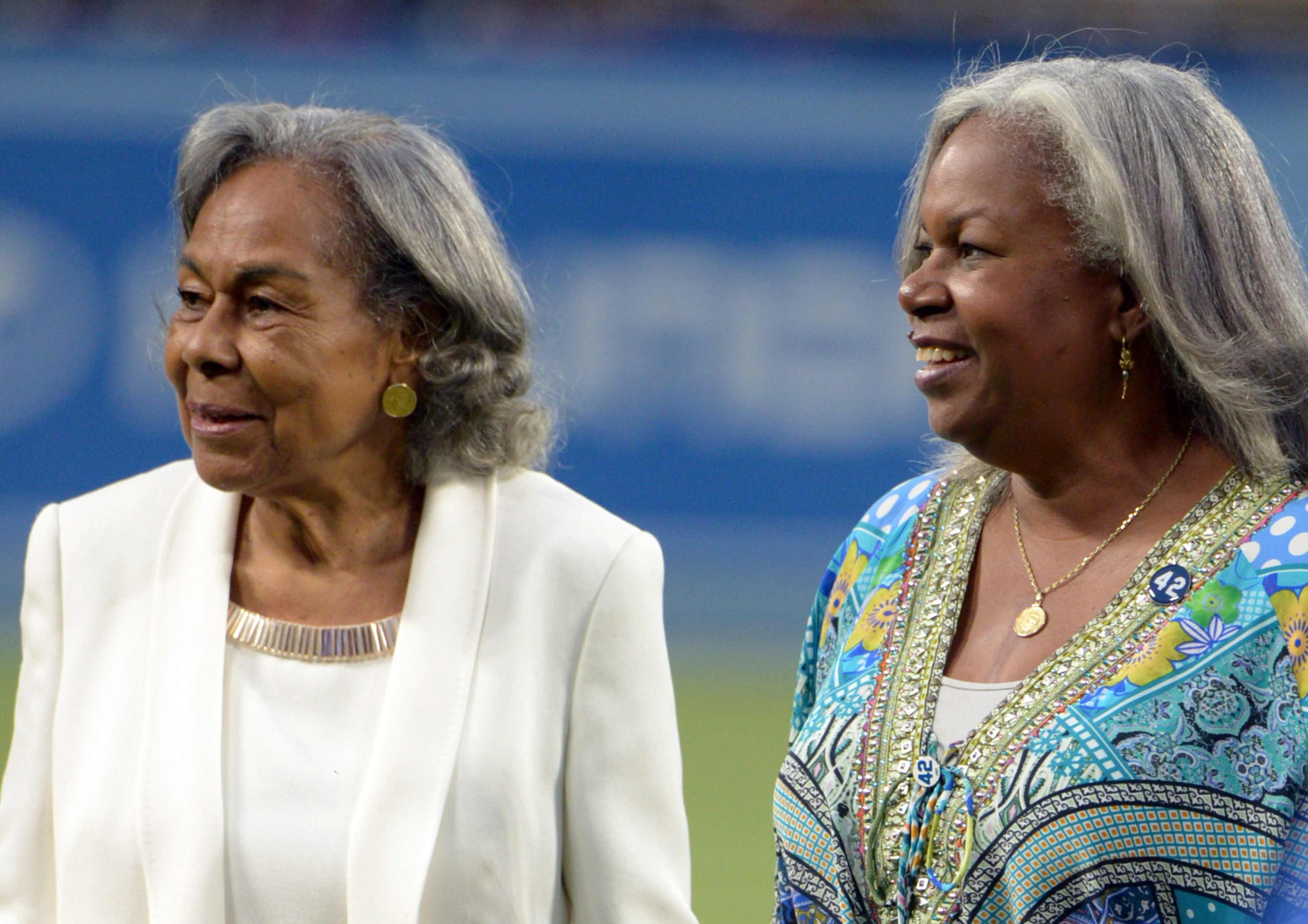 Jackie Robinson's wife Rachel and daughter Sharon.