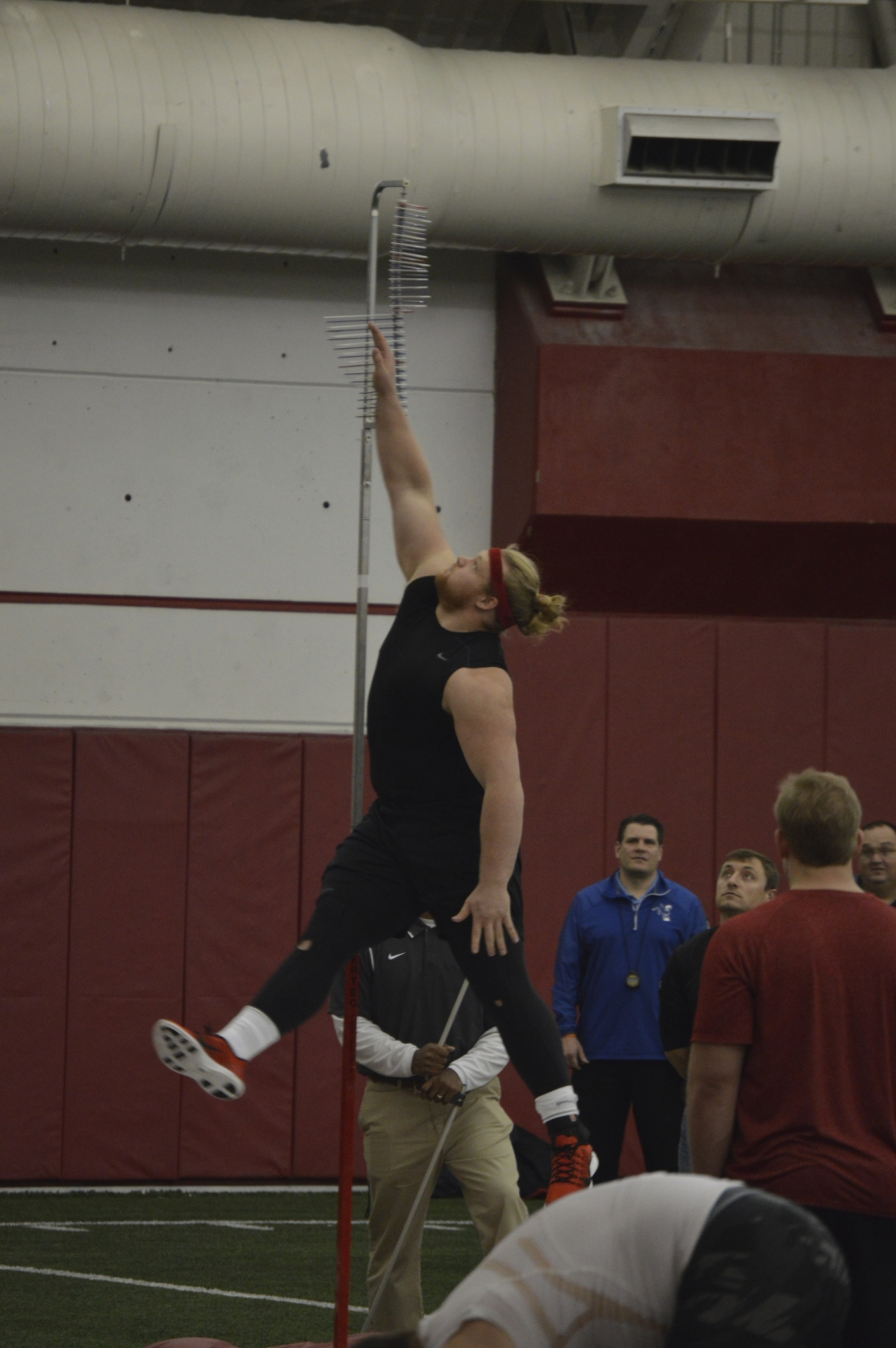 Beau Allen high jumps at Wisconsin's pro day on March 5.