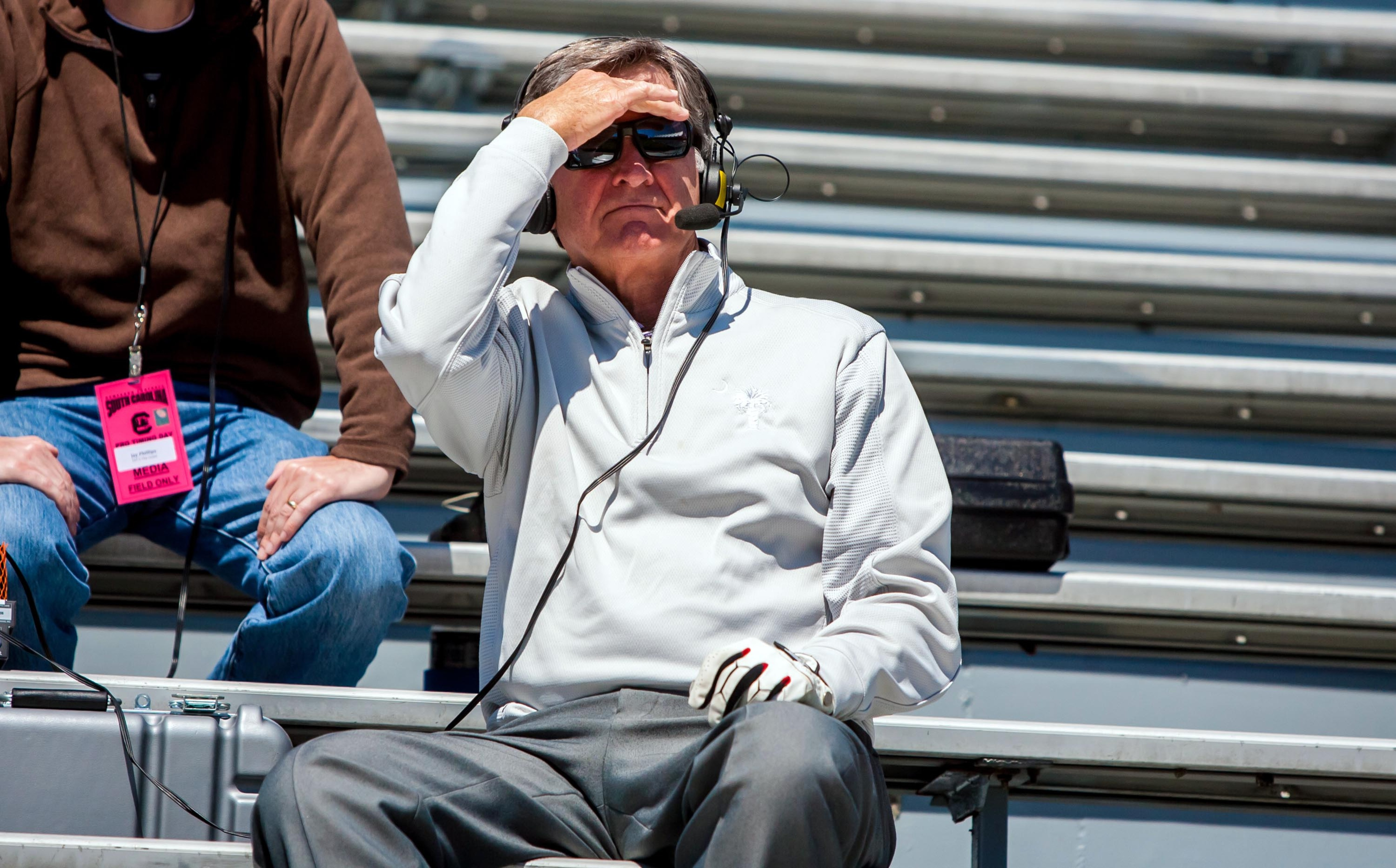 Steve Spurrier, probably contemplating the latest shareable content on the world wide web