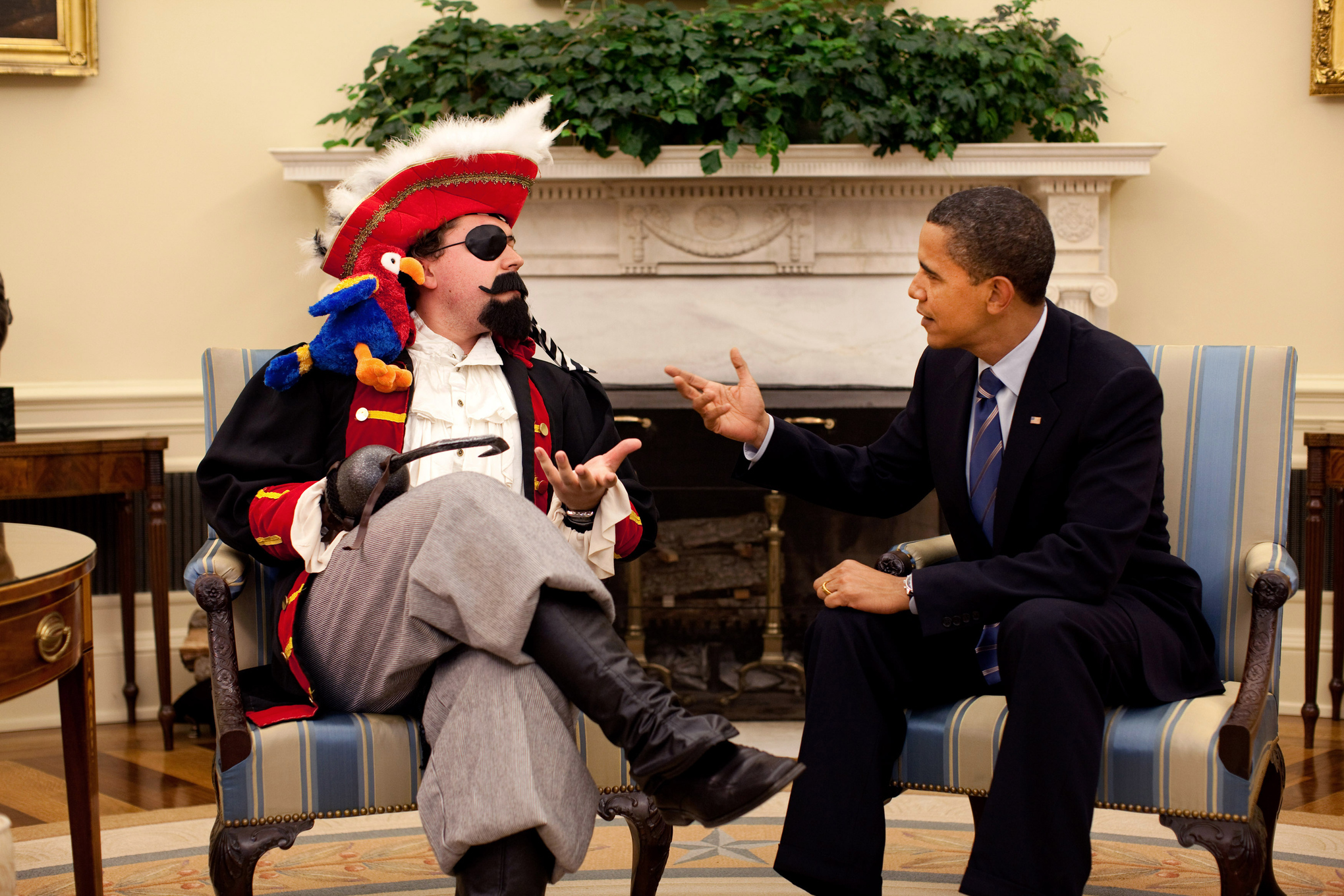 Cody Keenan (then a White House speechwriter, now director of speechwriting) dresses up as a pirate for a 2009 White House Correspondents' Dinner gag.