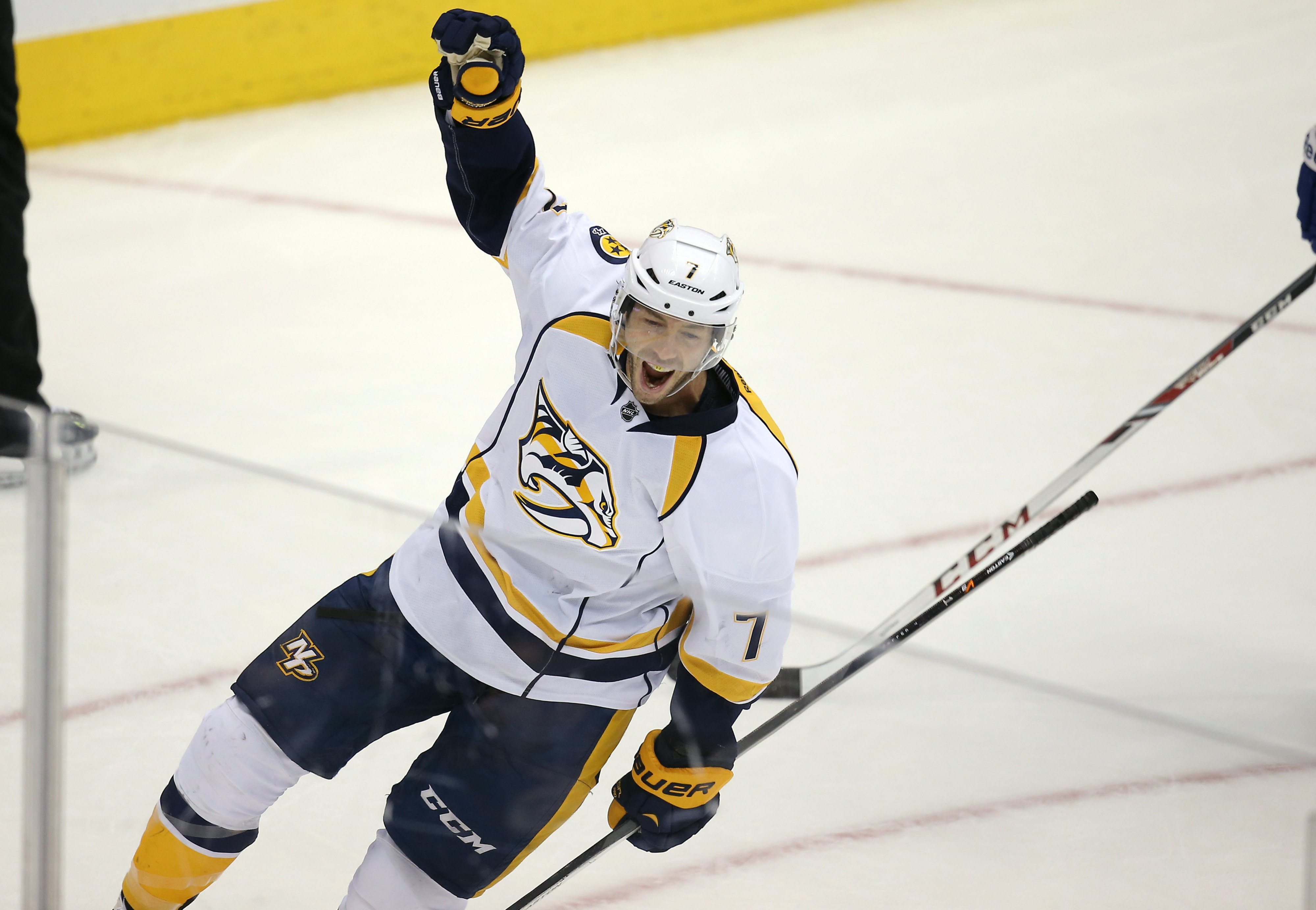 Preds center and 2013 free agent acquisition Matt Cullen celebrates his goal against the Toronto Maple Leafs at Air Canada Centre on November 21, 2013.