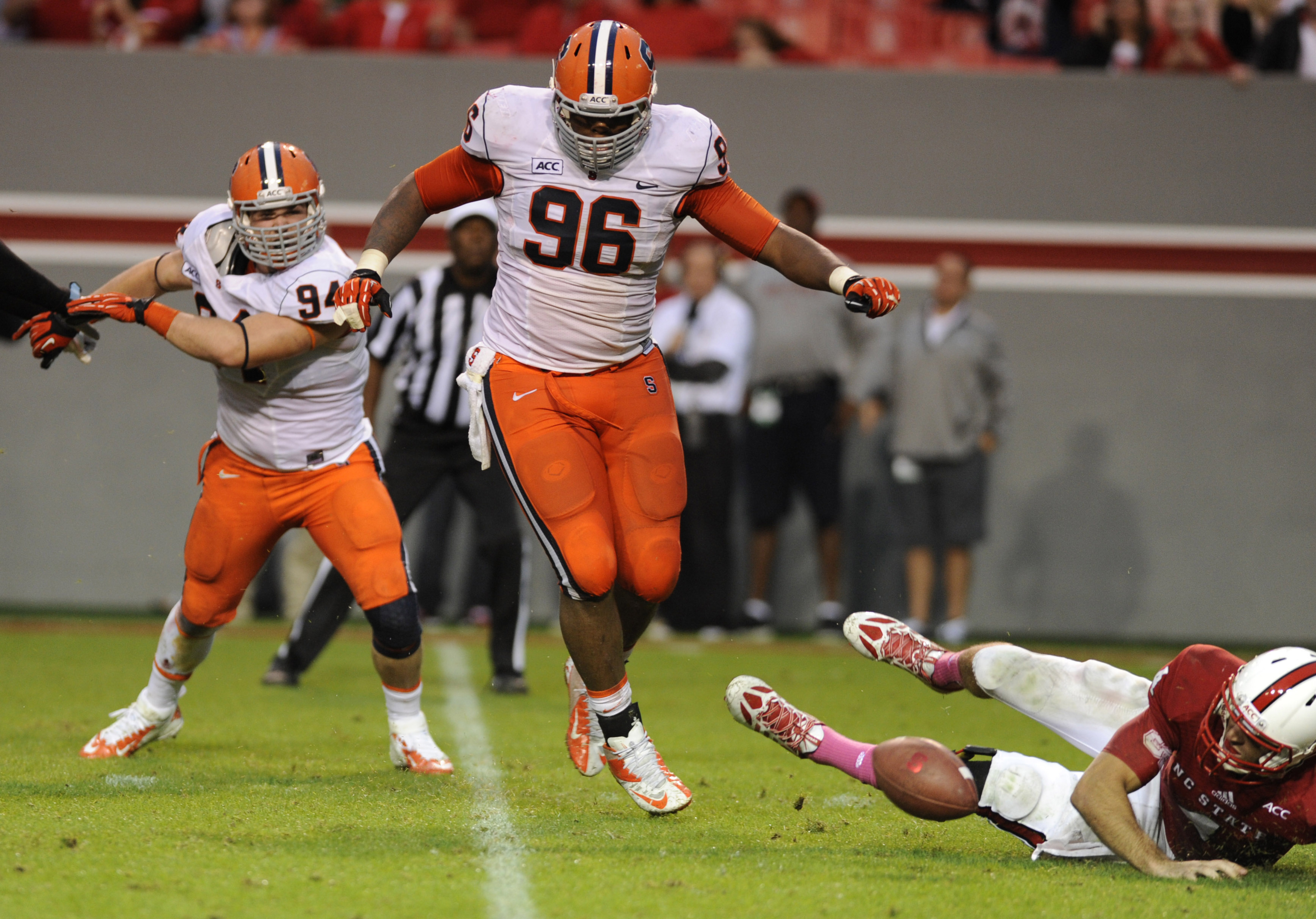 Jay Bromley causes a fumble