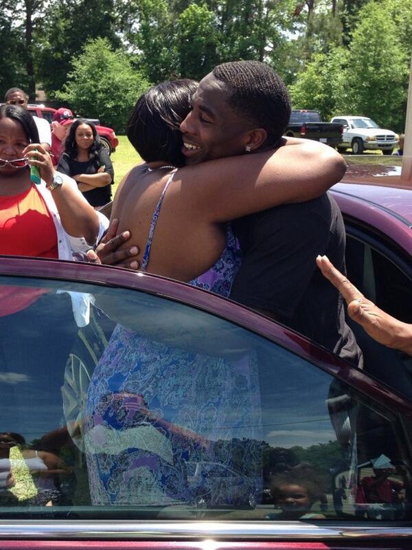 Bruce Ellington celebrates the news with his mom