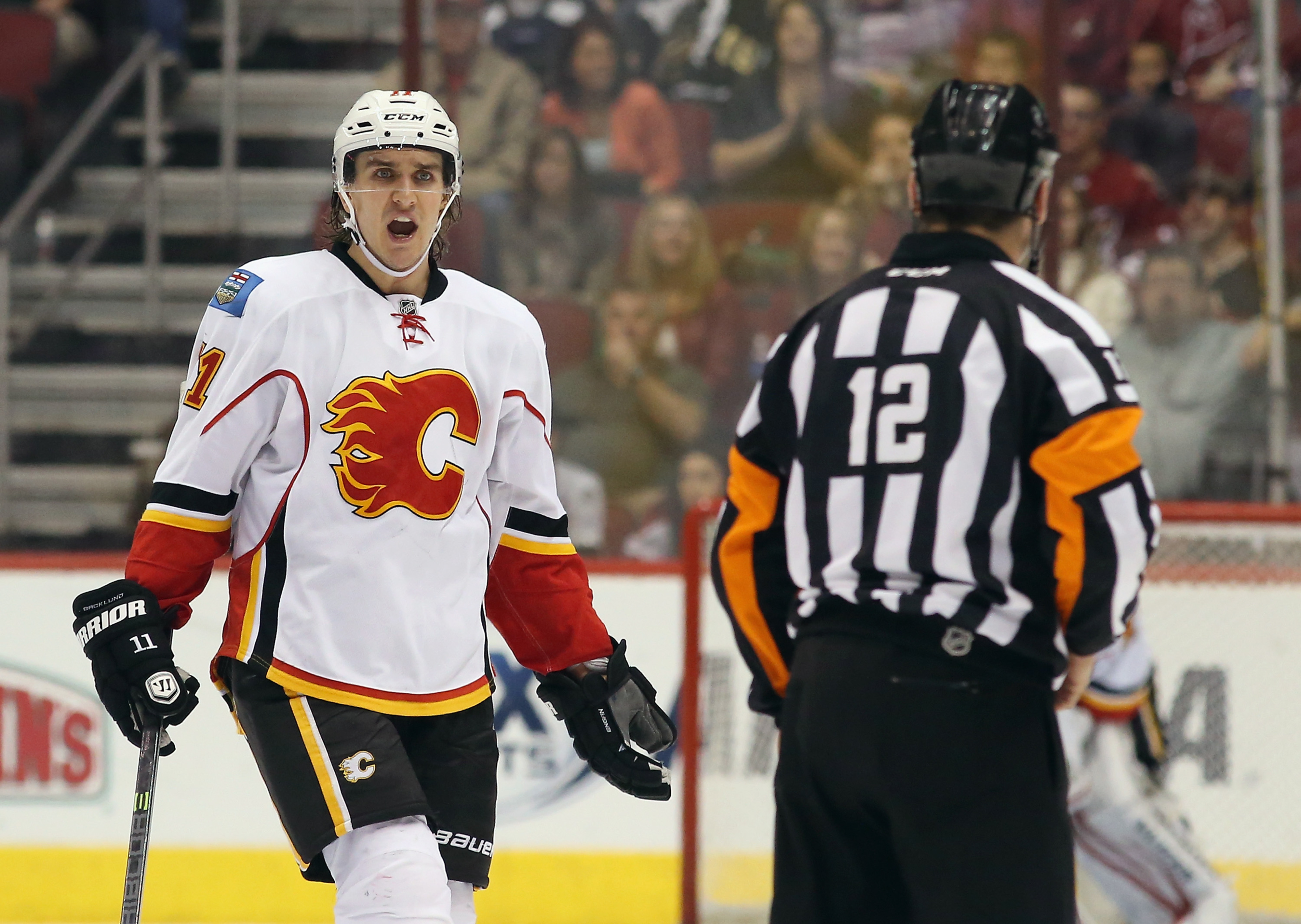 Mikael Backlund ran into some penalty trouble today.