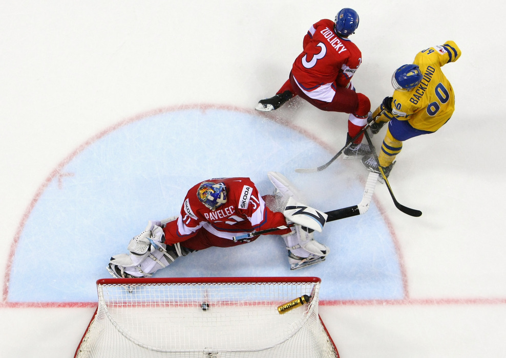 It wasn't Pavelec, but Backlund did score against the Czechs today.