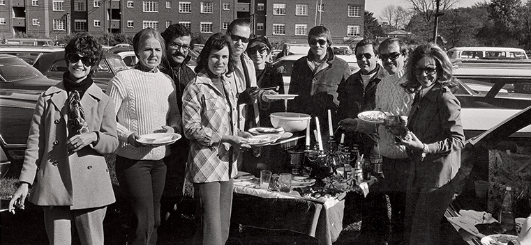 This is actually how Northwestern fans tailgated in the 1970s. I'm getting my candelabra for this fall.