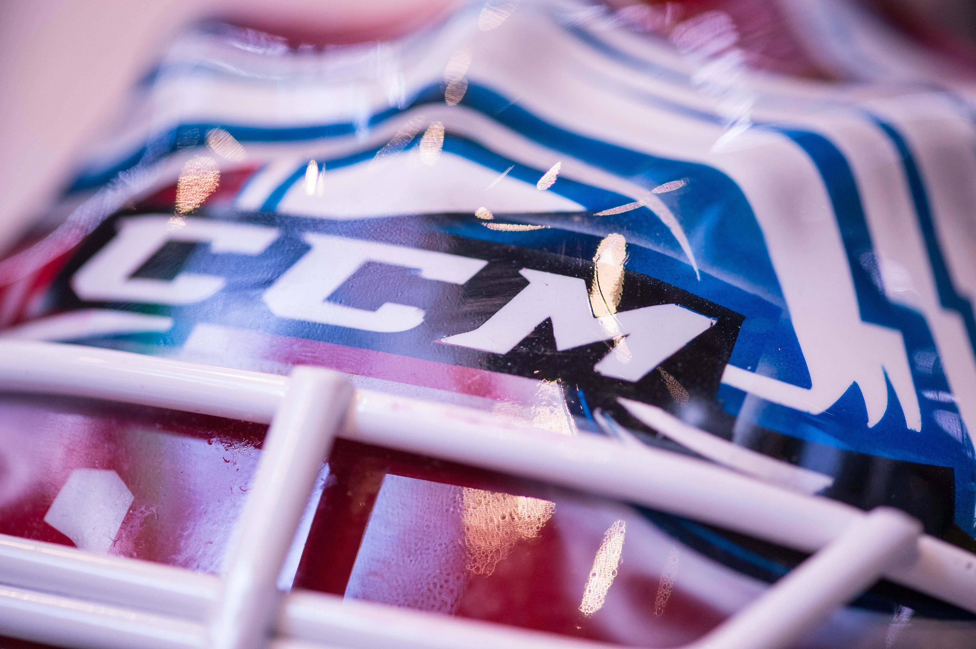 DALLAS---A close view of the CCM logo on the helmet of Colorado Avalanche goalie Jean-Sebastien Giguere, taken January 27, 2014.