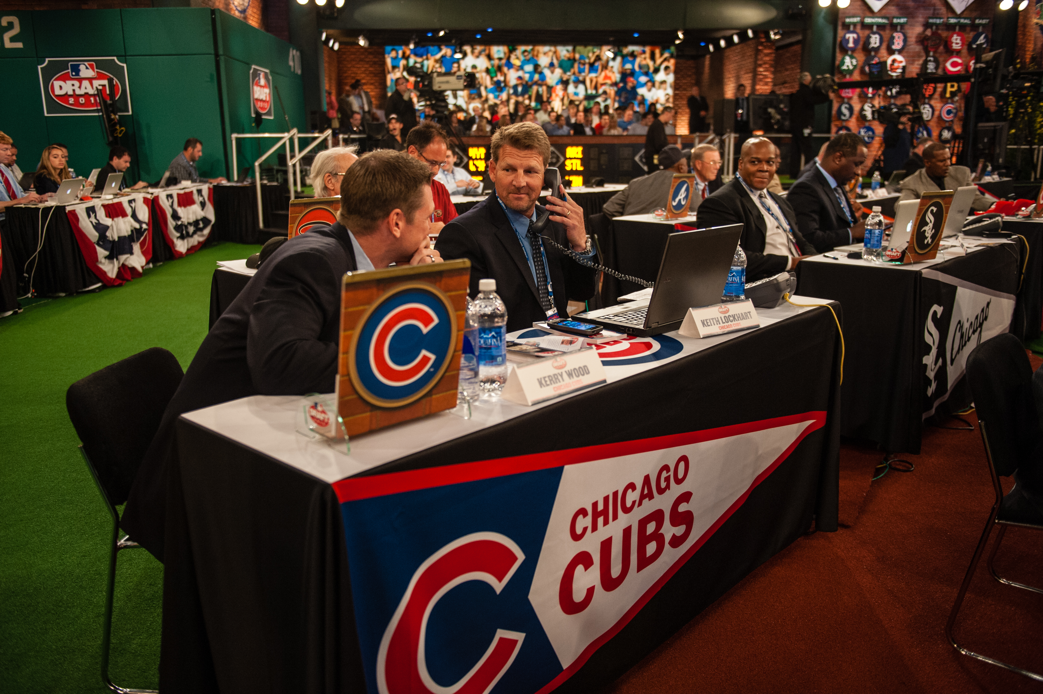 Kerry Wood and Keith Lockhart representing the Cubs at the 2013 draft