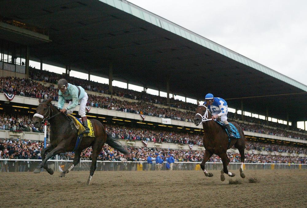 Birdstone winning the 2004 Belmont.  Let's hope similar things don't happen Saturday.