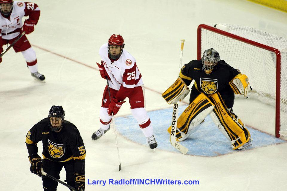 University of Wisconsin junior Michael Mersch scored twice Friday night