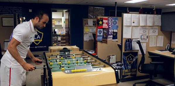 Landon Donovan kills time in the LA Galaxy offices