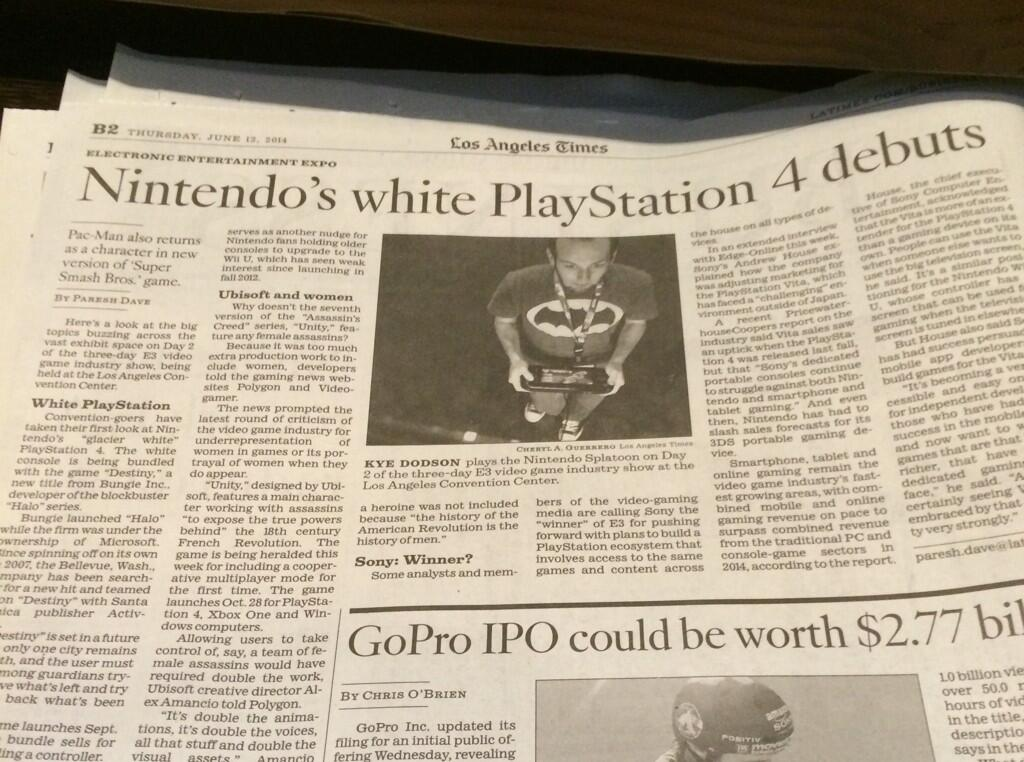 Nintendo now making PlayStations, according to L.A. Times
