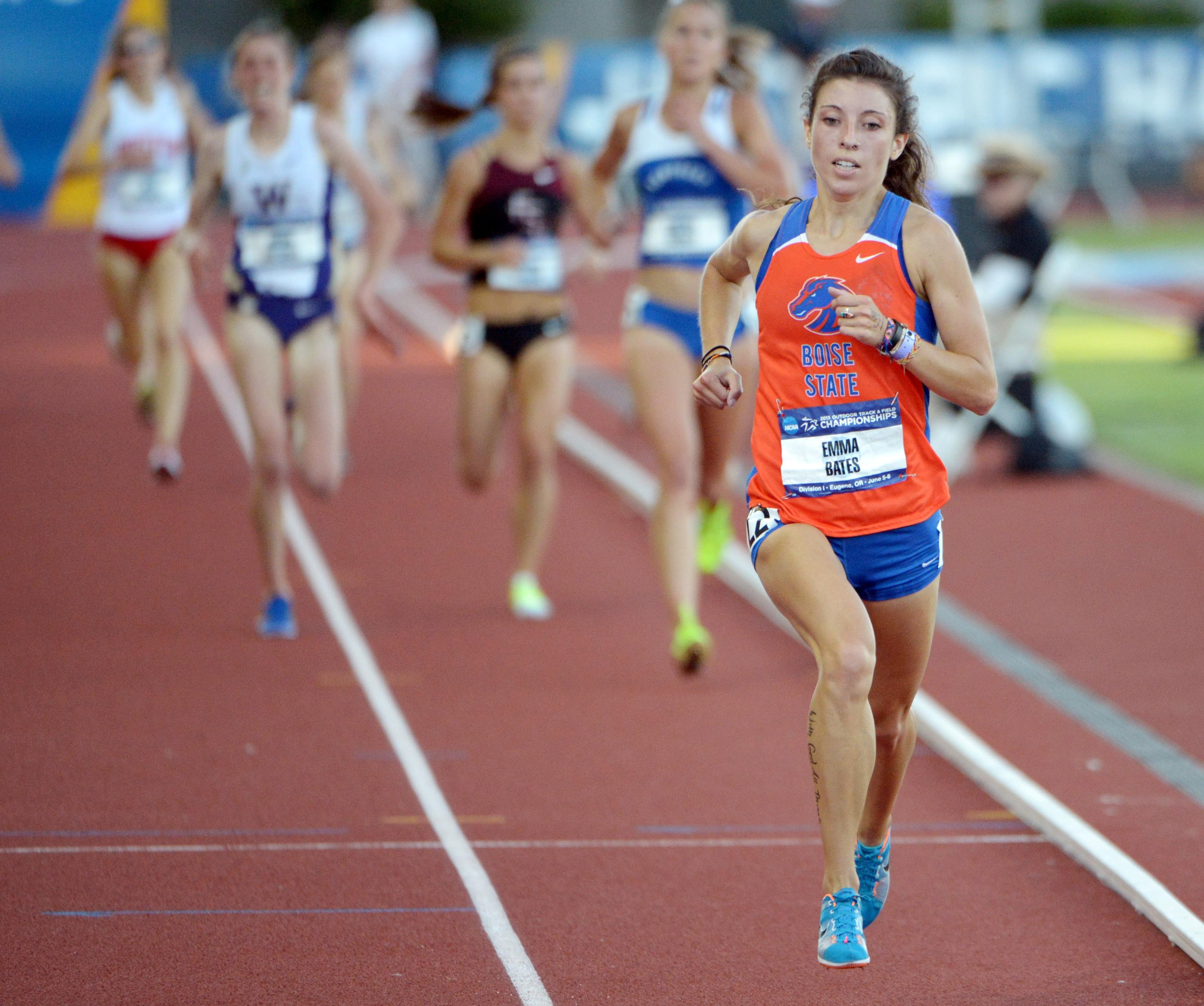 Jun 5, 2013; Eugene, OR, USA; Emma Bates of Boise State places third in the womens 10,000m in 33:37.13 in the 2013 NCAA Championships at Hayward Field. Mandatory Credit: Kirby Lee-USA TODAY Sports