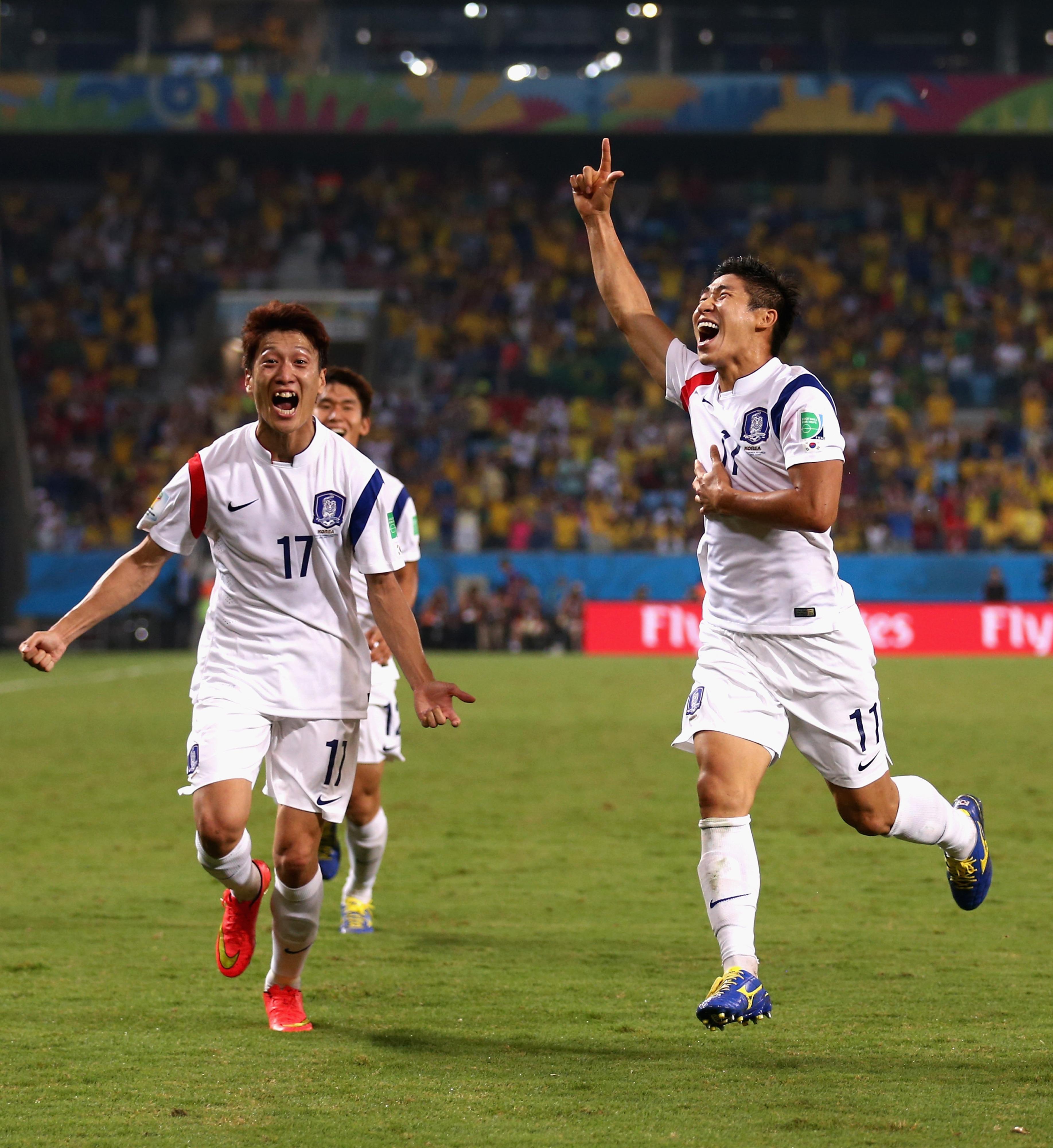 Chung-Young celebrating Korea's opener.