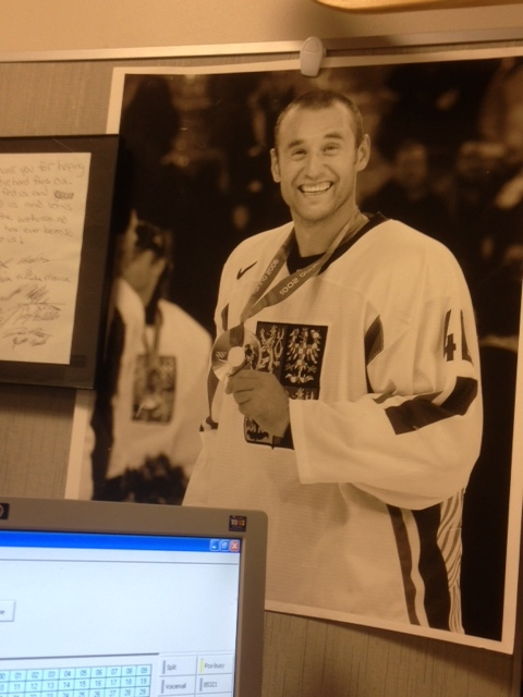 The relentlessly upbeat and frequently off-kilter Vinny Prospal, as seen on my cubicle wall every day