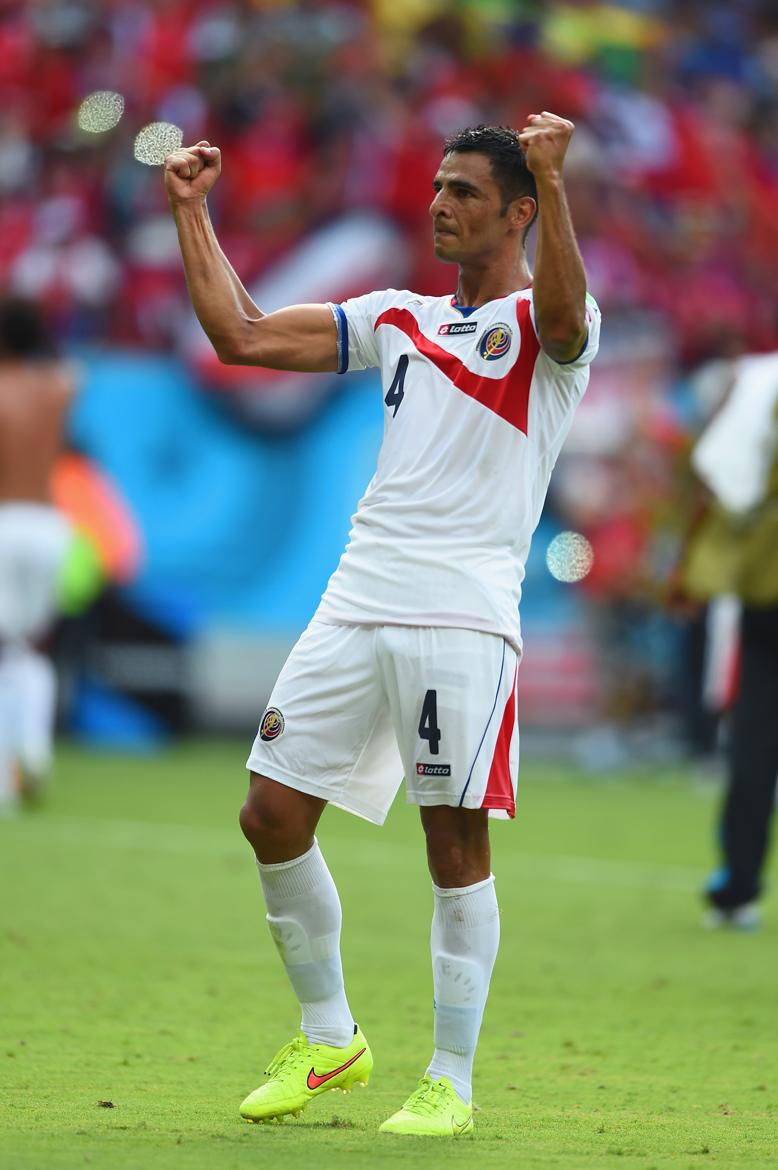 Umaña celebrating after Costa Rica's second consecutive upset.