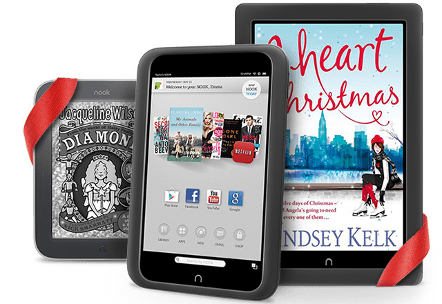 From left: Barnes & Noble Nook e-reader and Nook Tablets