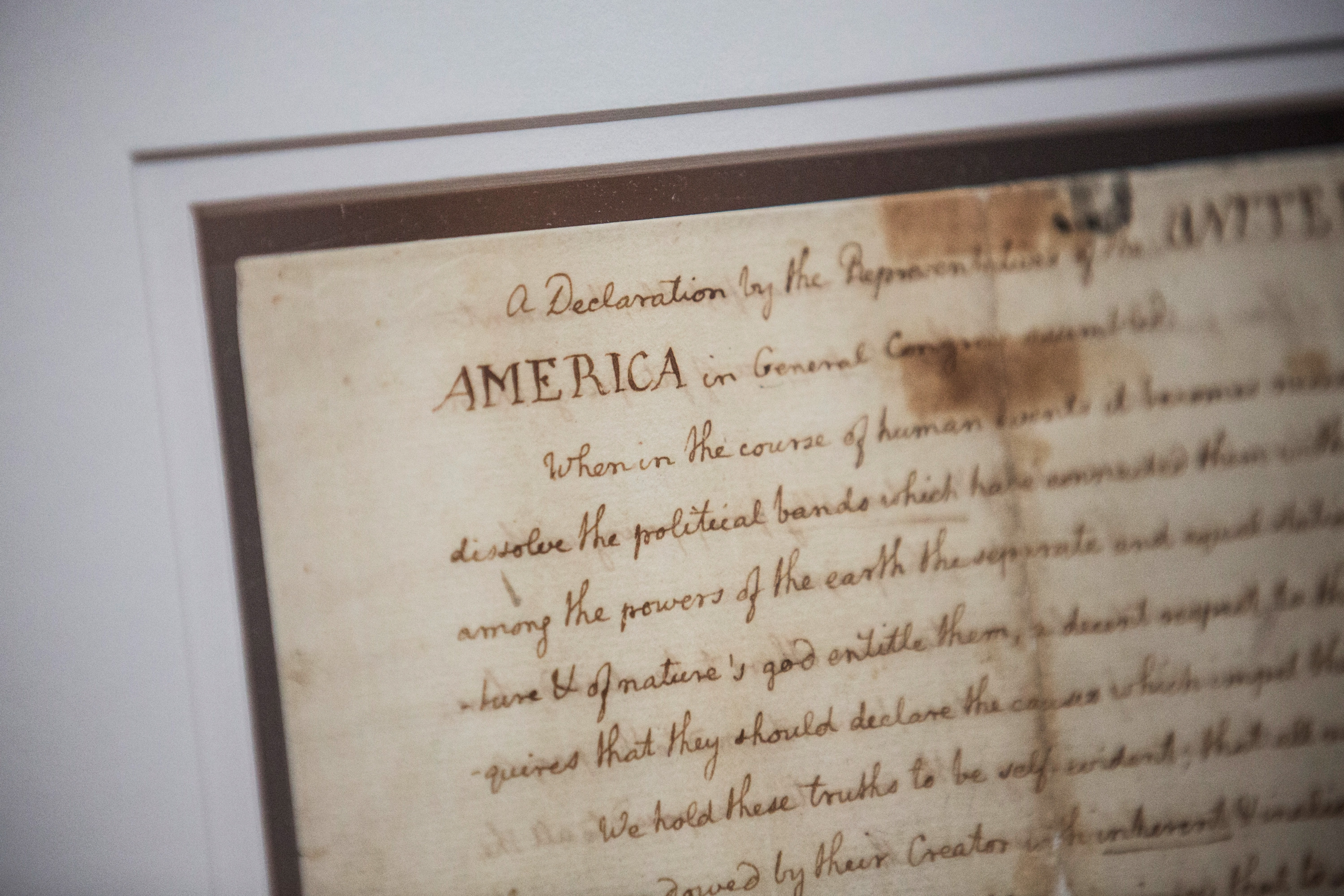 Jefferson's rough draft of the Declaration, currently on display at the New York Public Library