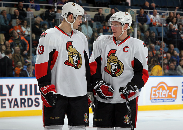 Alfredsson, giving Spezza instructions on how to be captain should he suddenly decide to bolt for Detroit