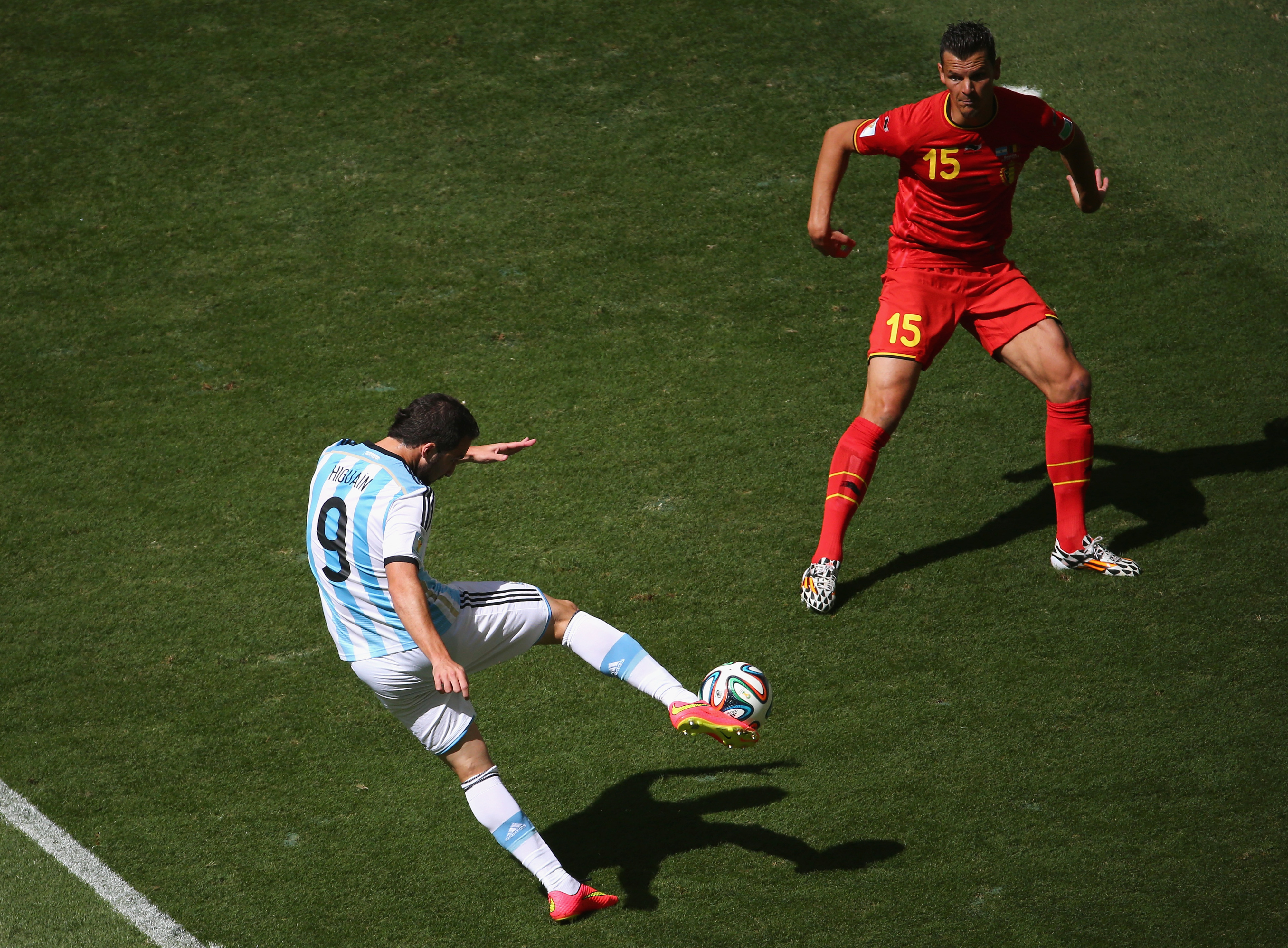 Higuain - and Argentina's defense - sent the white and blue through.
