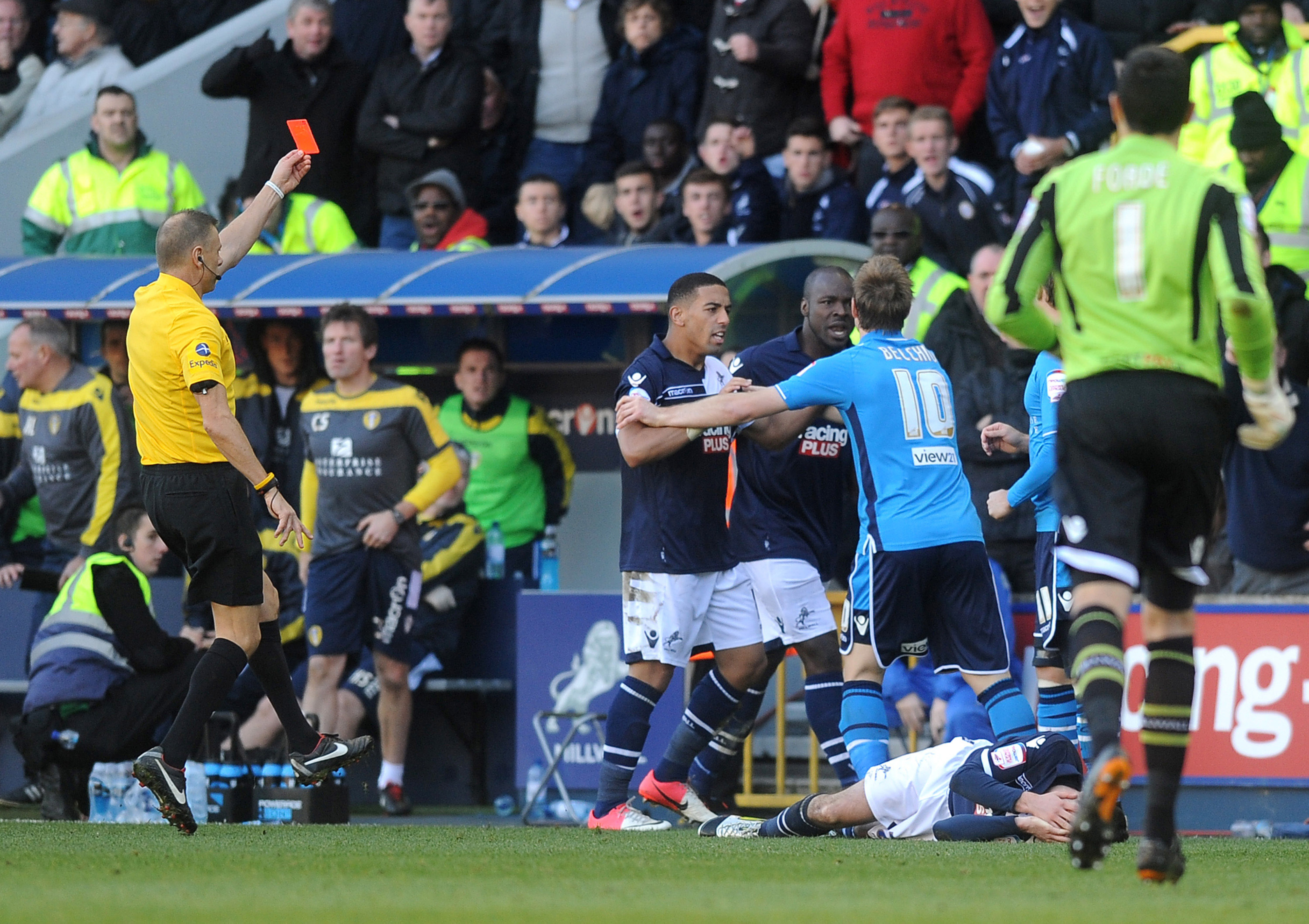 Luke Varney received a harsh red card thanks to the rolling around of Adam Smith, a former Leeds loanee.