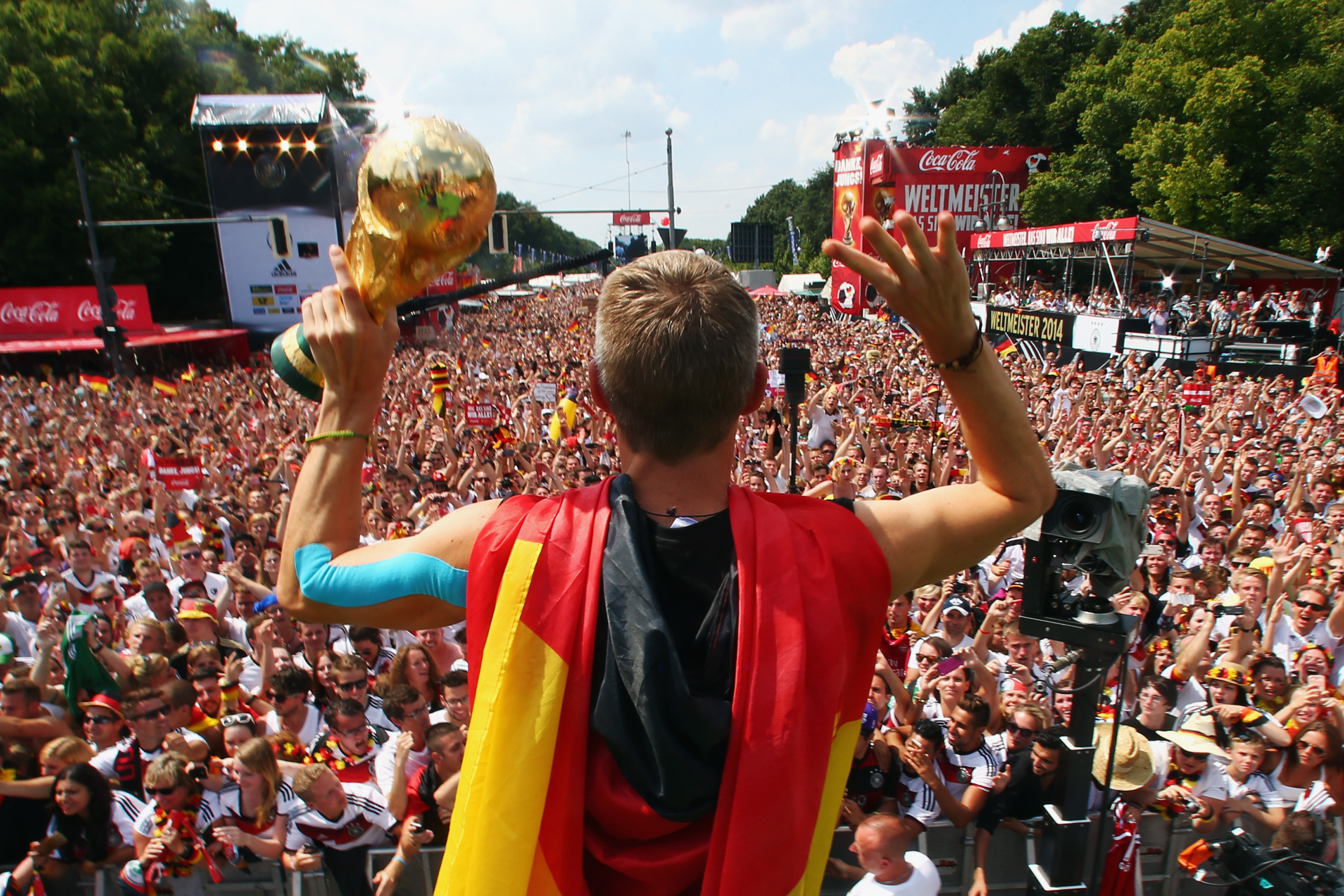 Bastian celebrates with his German army....
