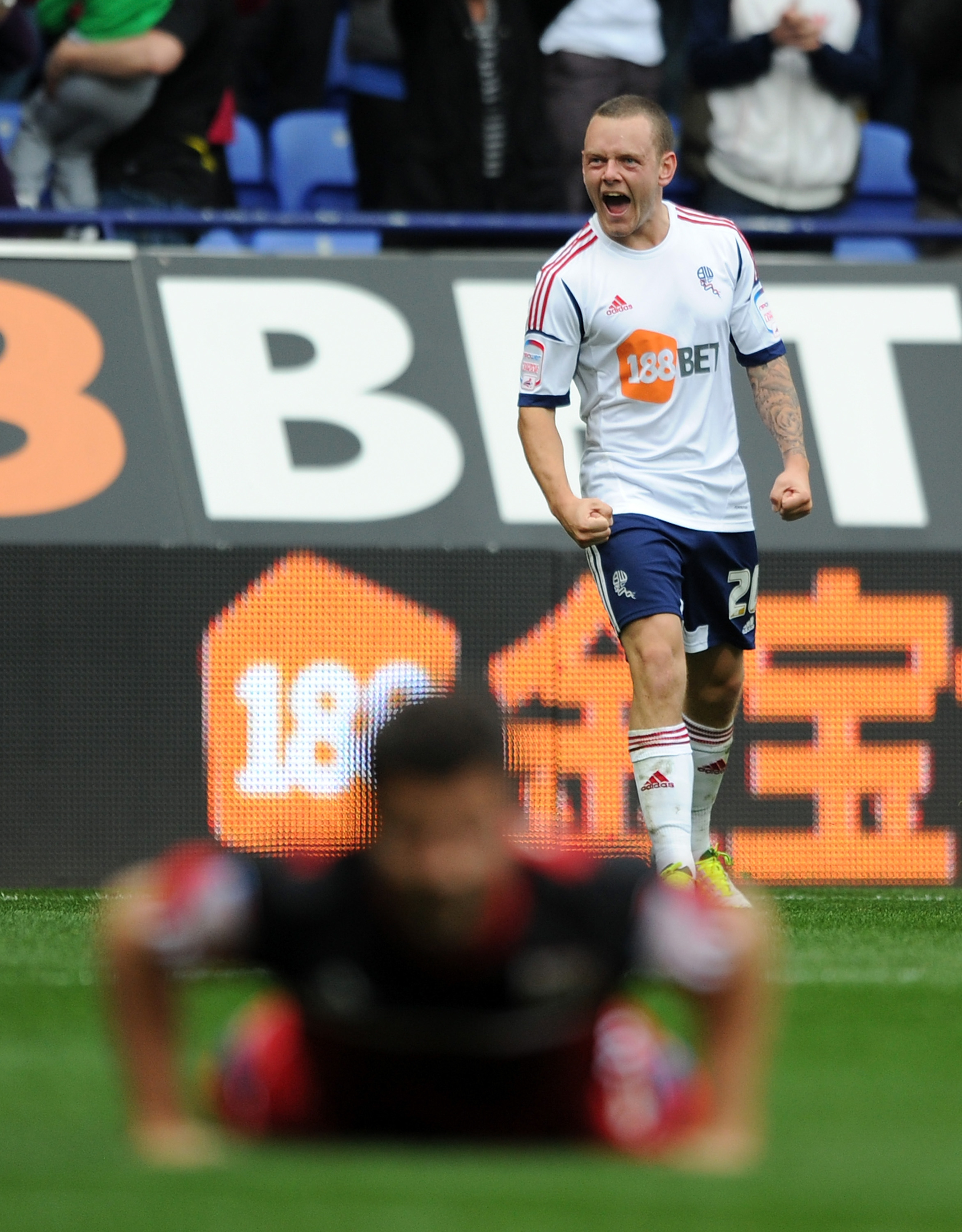 Spearing after scoring his first goal for the club against Bristol City.