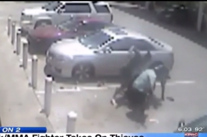 MMA fighter gas station clerk beats the hell out of robbers