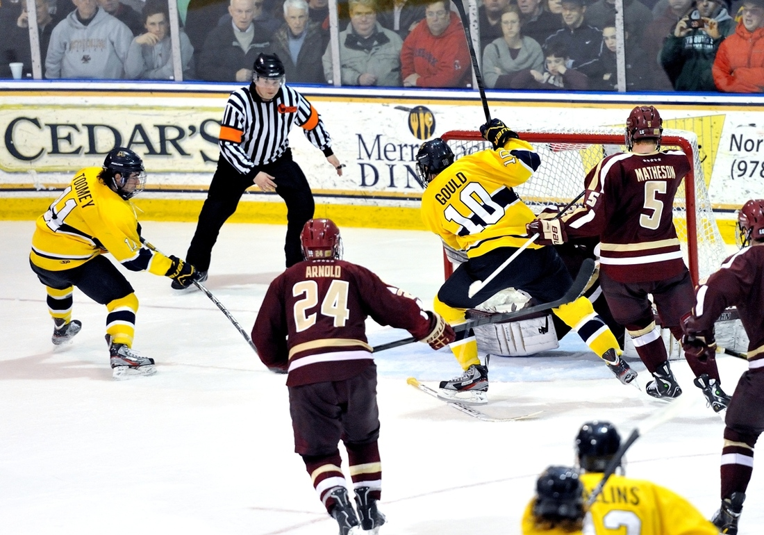Connor Toomey scored an overtime game-winning goal against Boston College during the 2012-13 season.