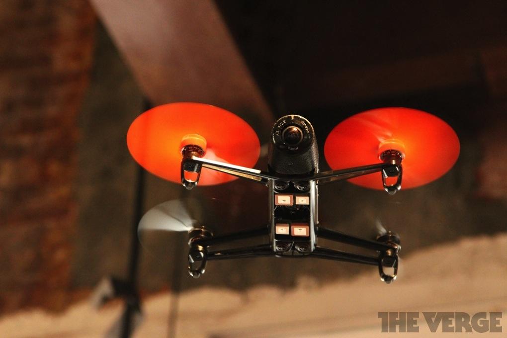 A Parrot Bebop drone in flight
