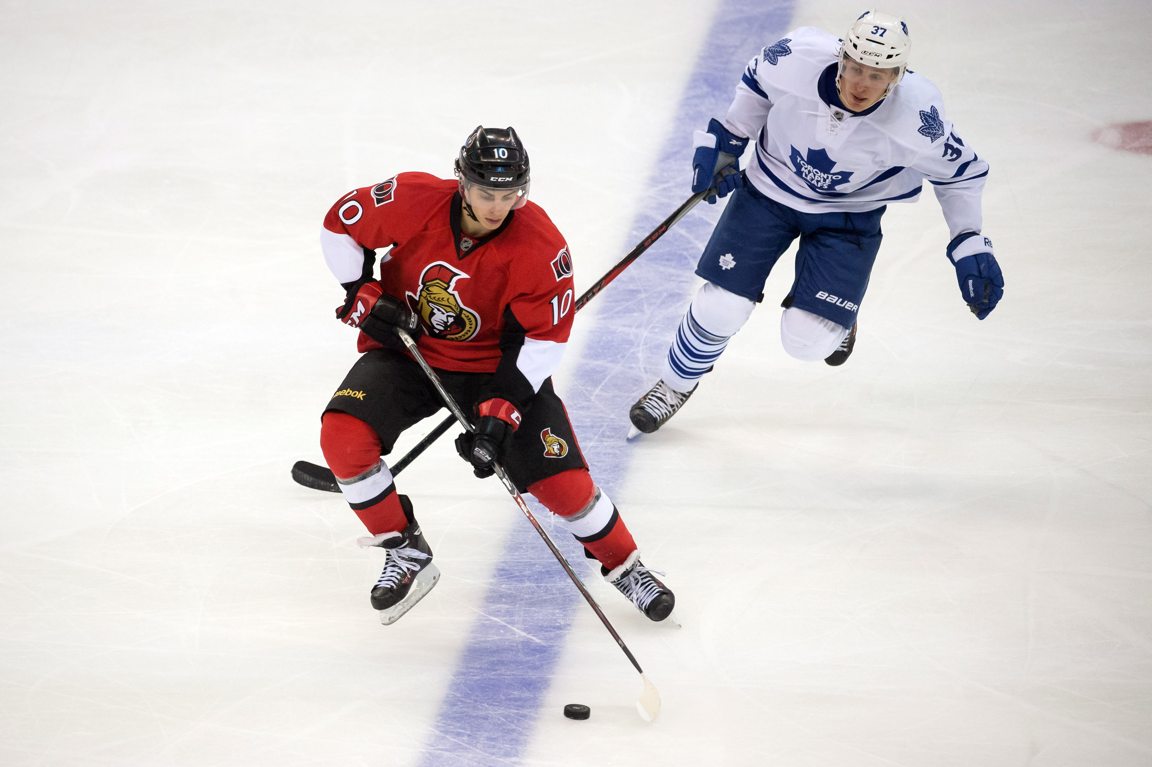Shane Prince, making all Sens fans happy by keeping the puck away from the Leafs.