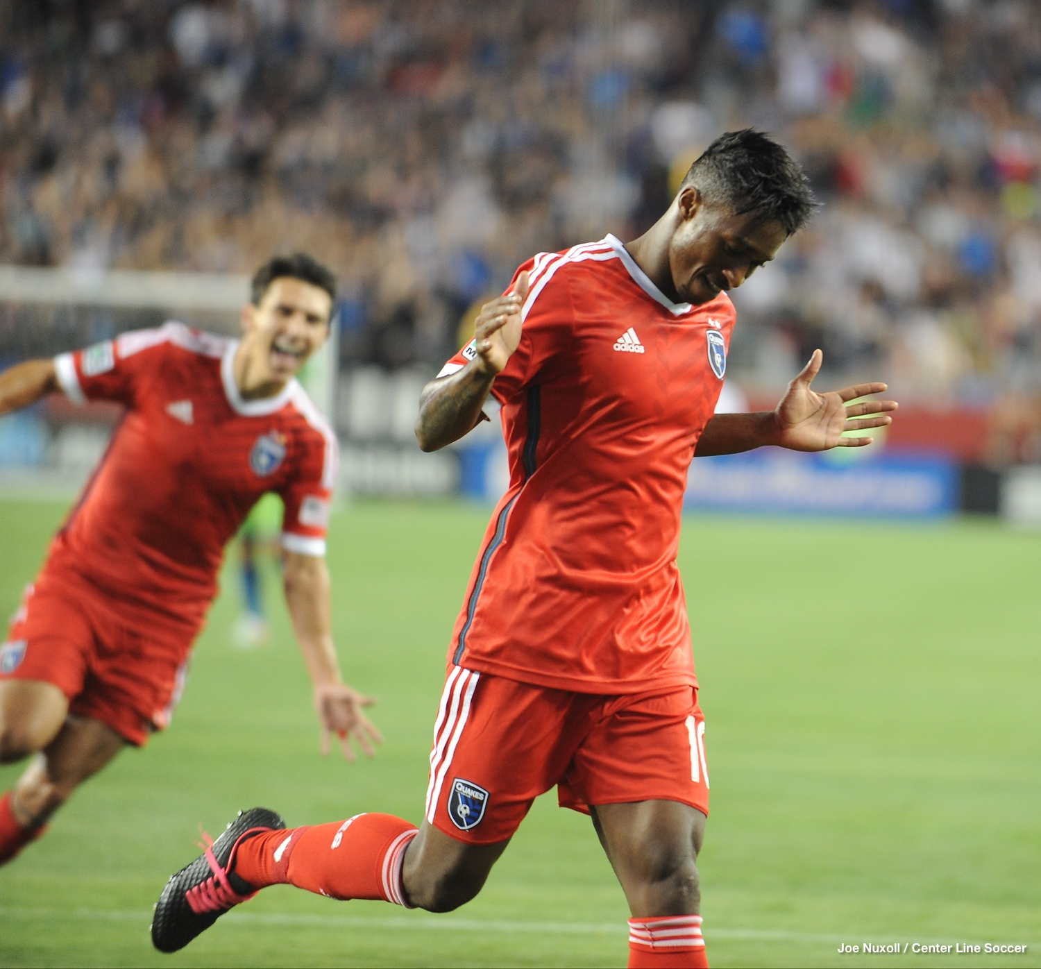 Yannick Djalo scores against the Seattle Sounders FC at the new Levi's Stadium