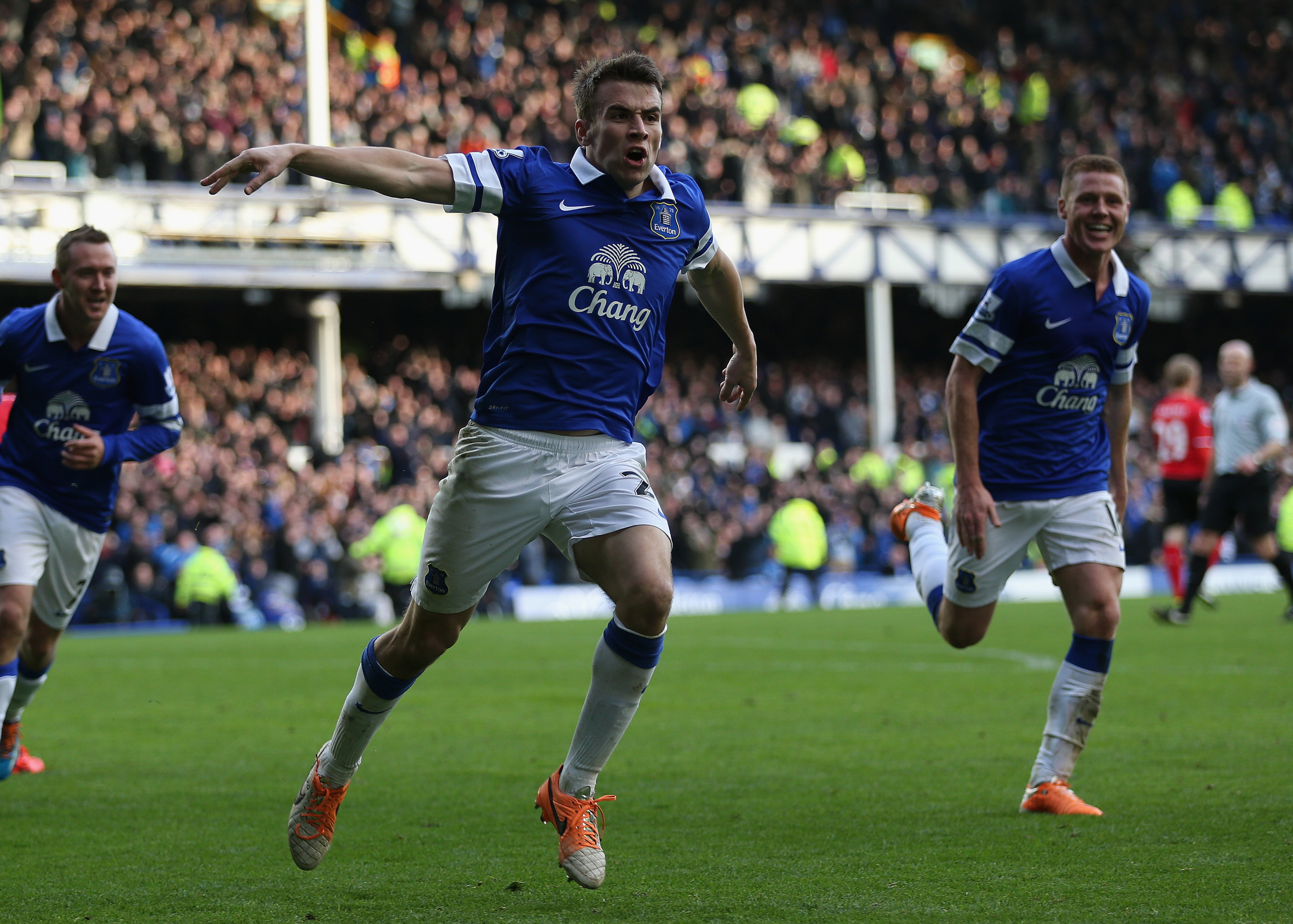 Seamus Coleman celebrates after scoring the game-winning goal in last year's home fixture against Cardiff City.