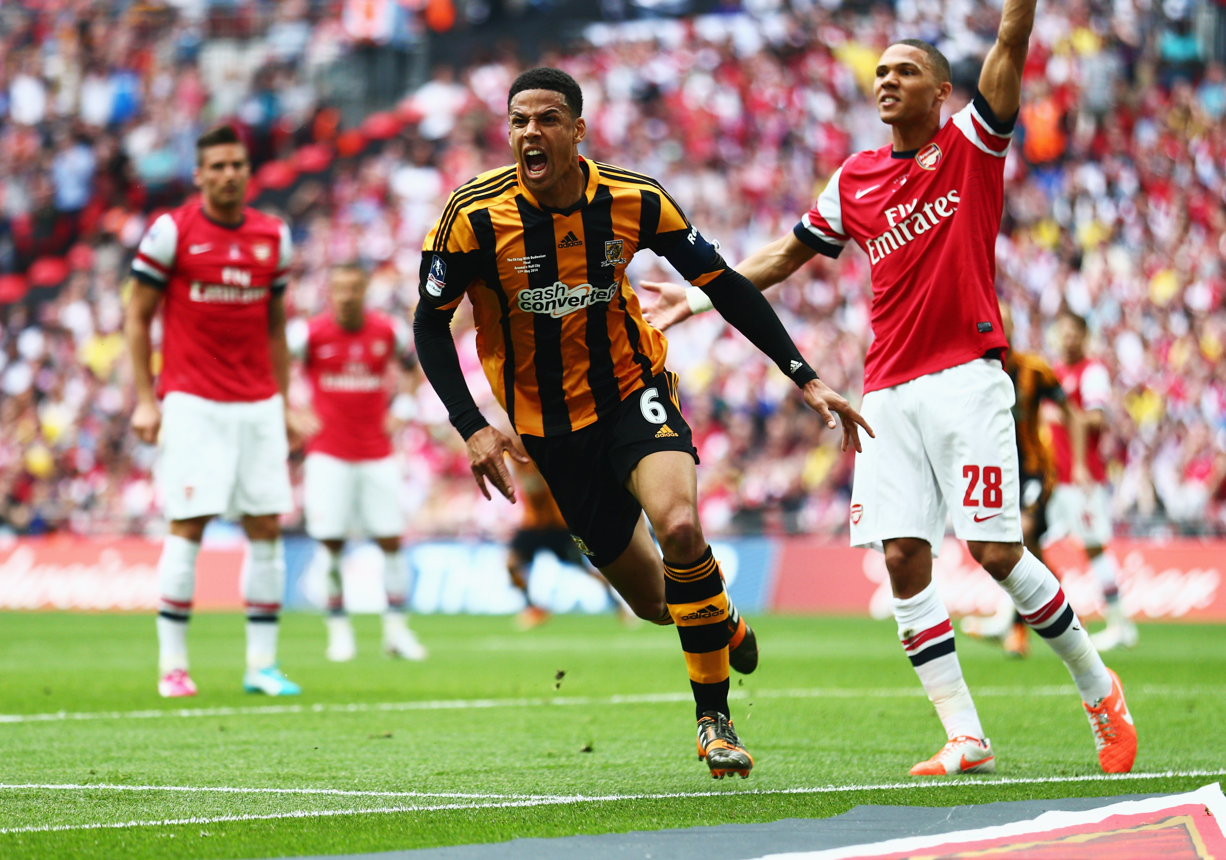 Curtis Davies celebrates his goal in the FA Cup Final