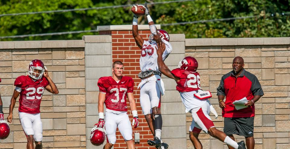 Demetrius Wilson skies for a catch in one of Arkansas' fall practices.