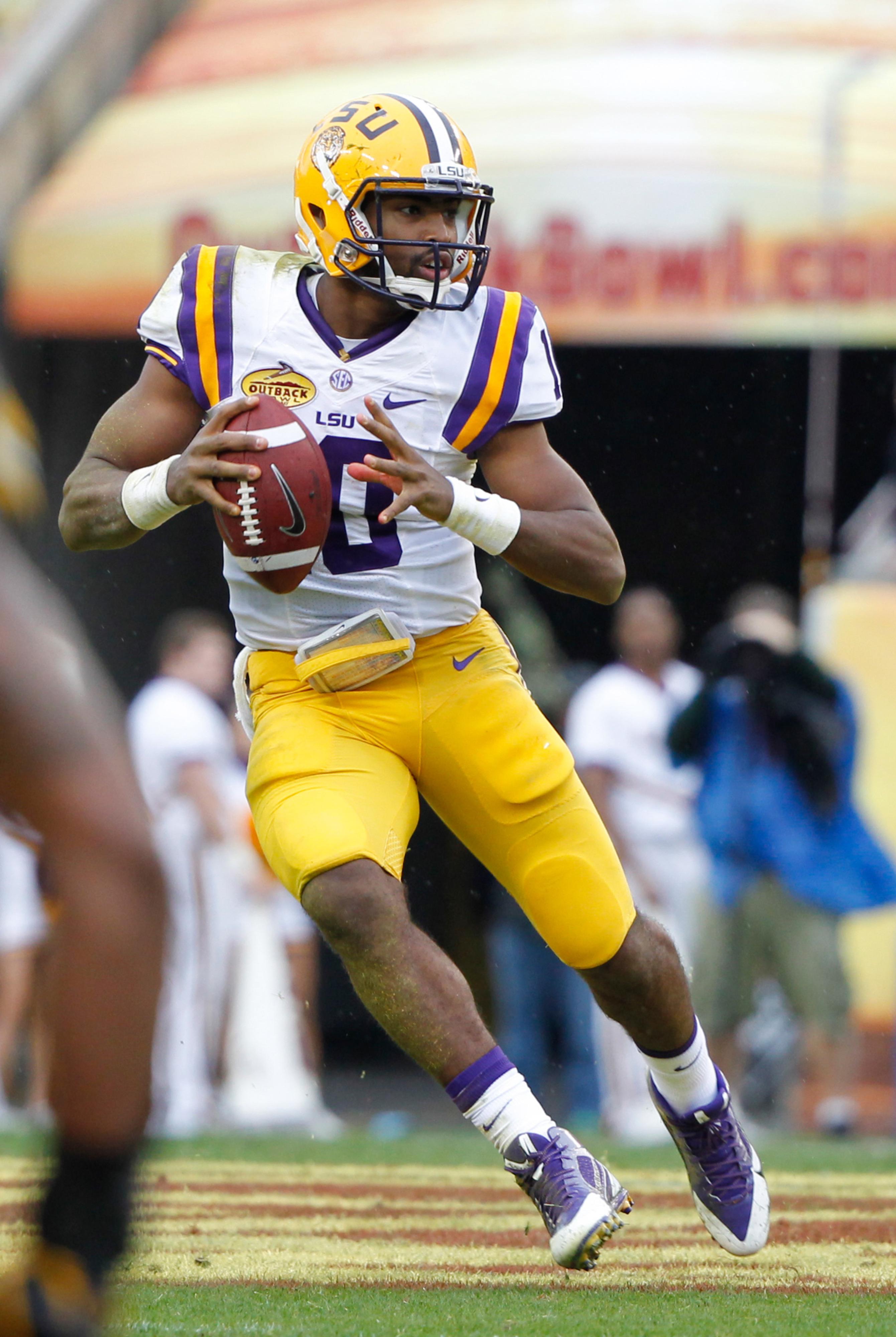 Sophomore Anthony Jennings (pictured) is fighting freshman Brandon Harris for LSU's starting quarterback job.
