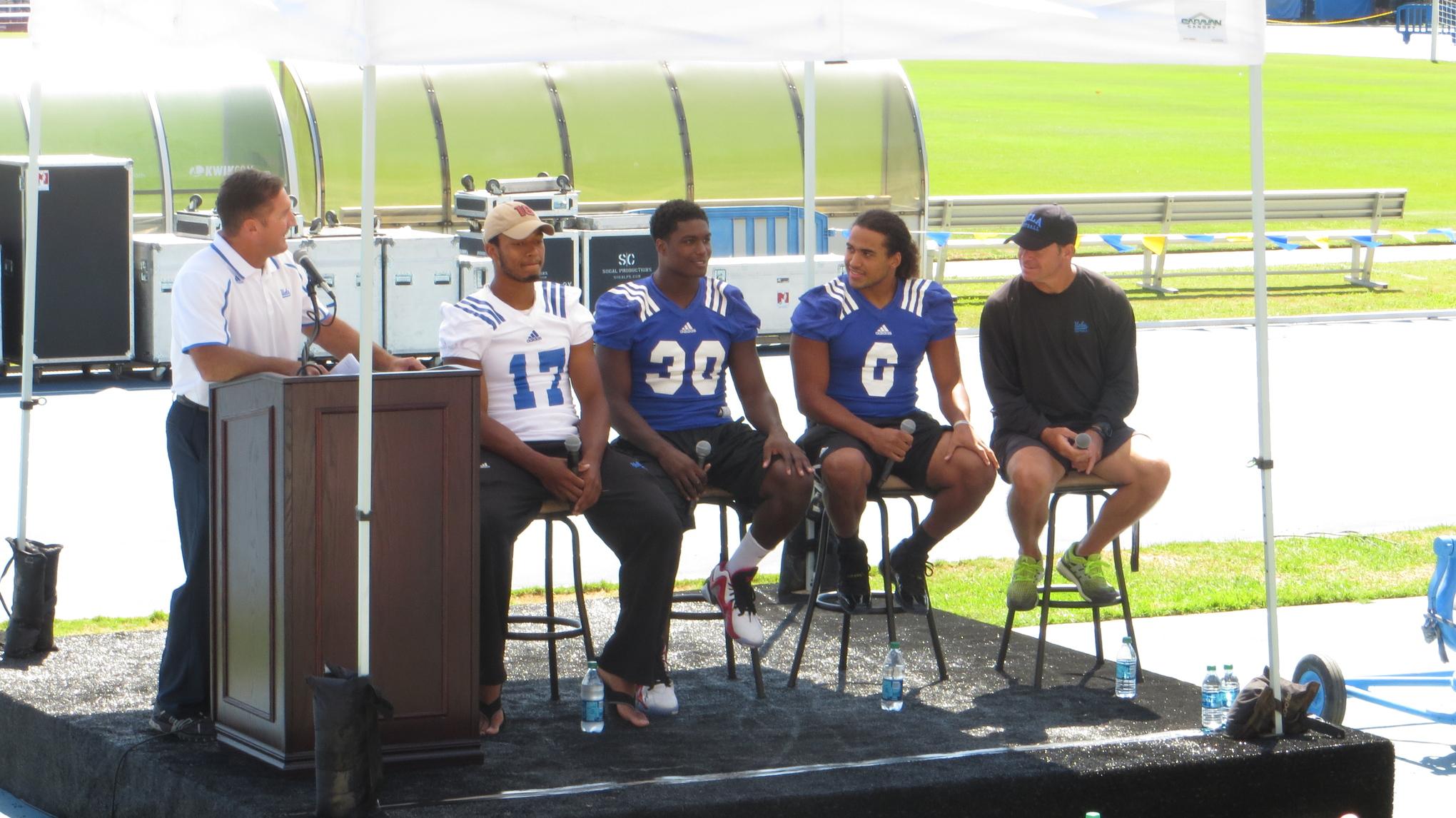 Matt Stevens led the panel discussion featuring Coach Mora, Brett Hundley, Eric Kendricks and Myles Jack