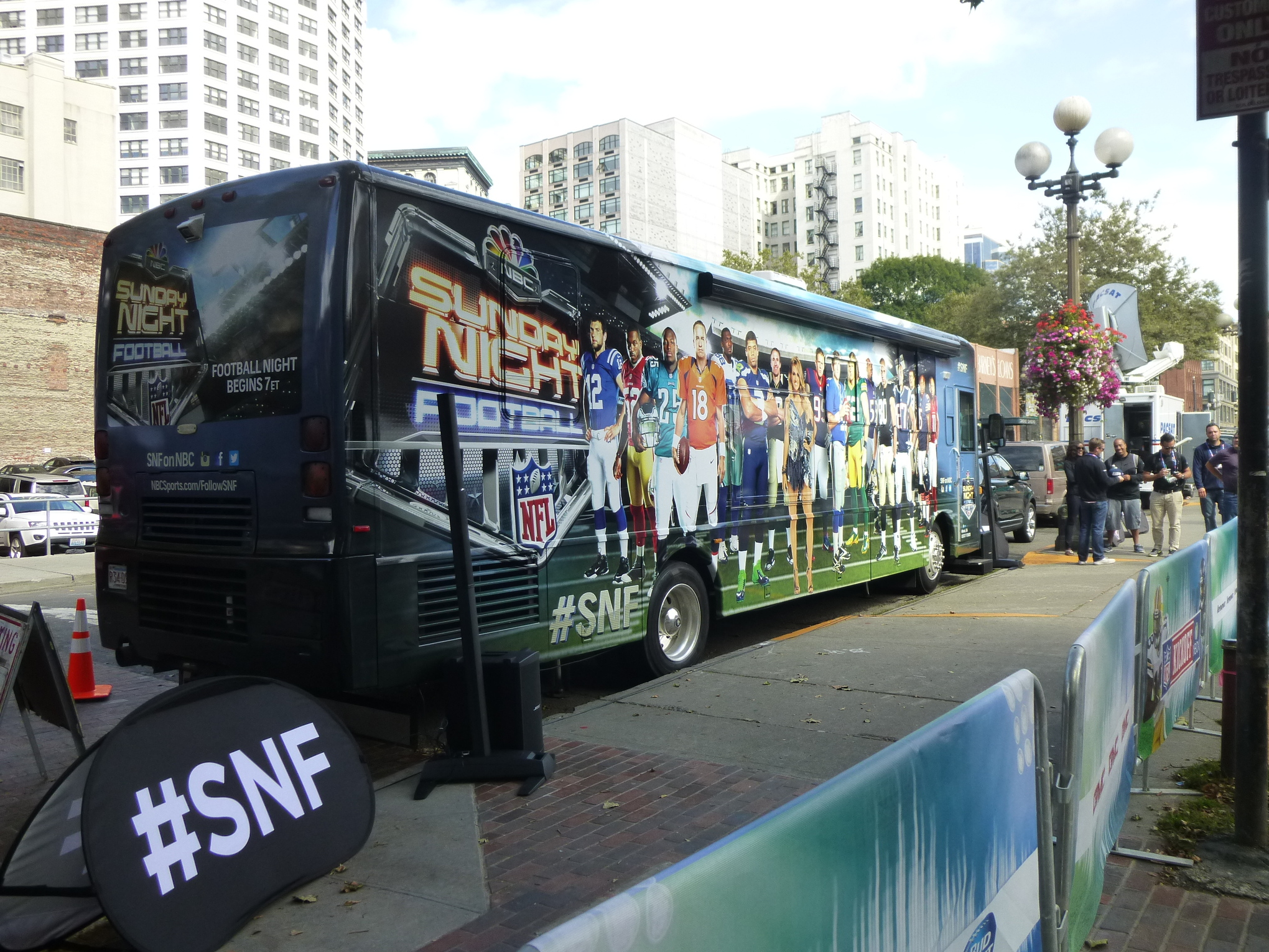 The Sunday Night Football on NBC bus is on display in downtown Seattle.