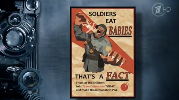 Russian documentary uses Team Fortress 2 poster as example of WWI propaganda