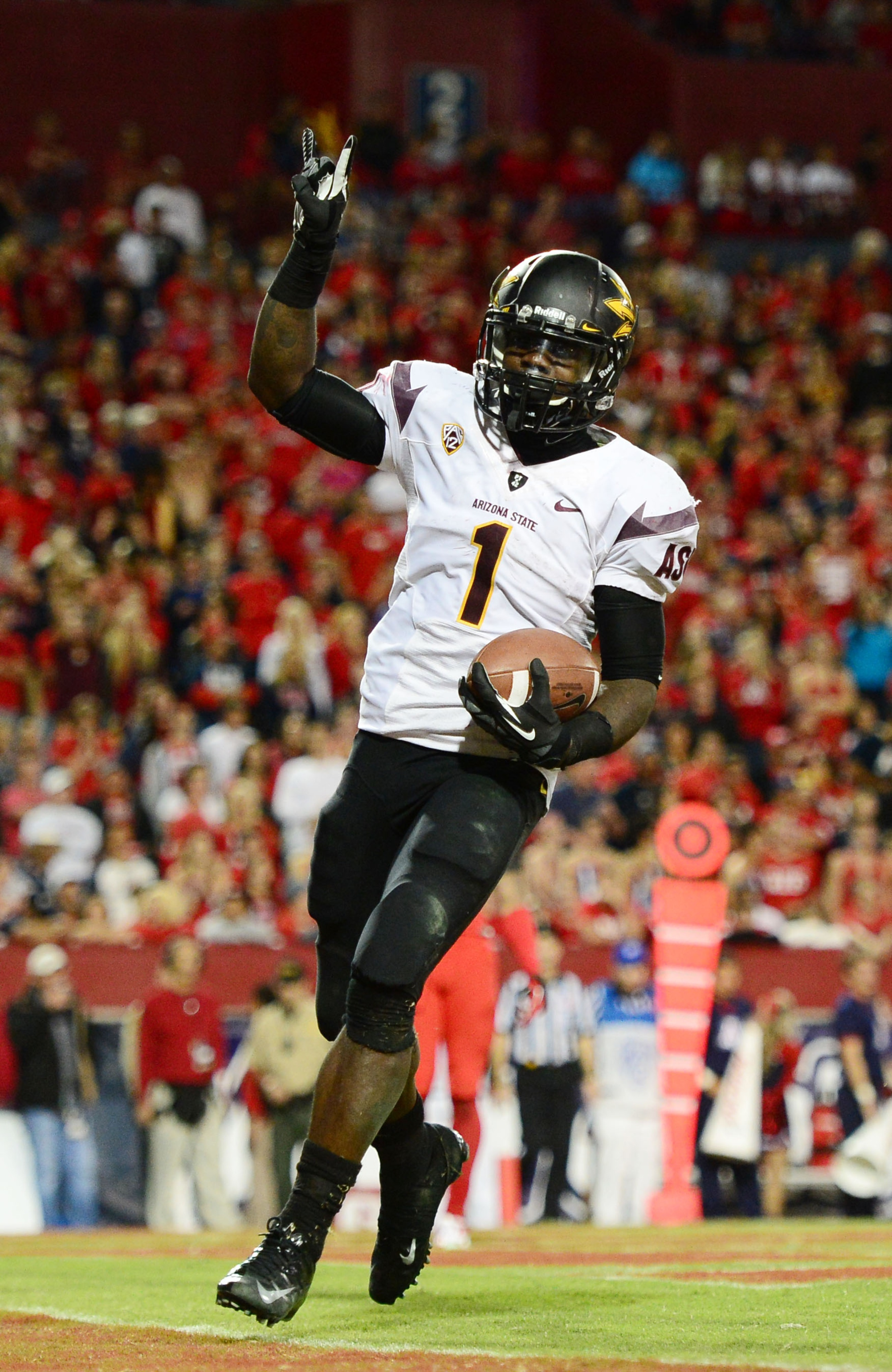 Marion Grice celebrates his best performance of the season in the Territorial Cup win