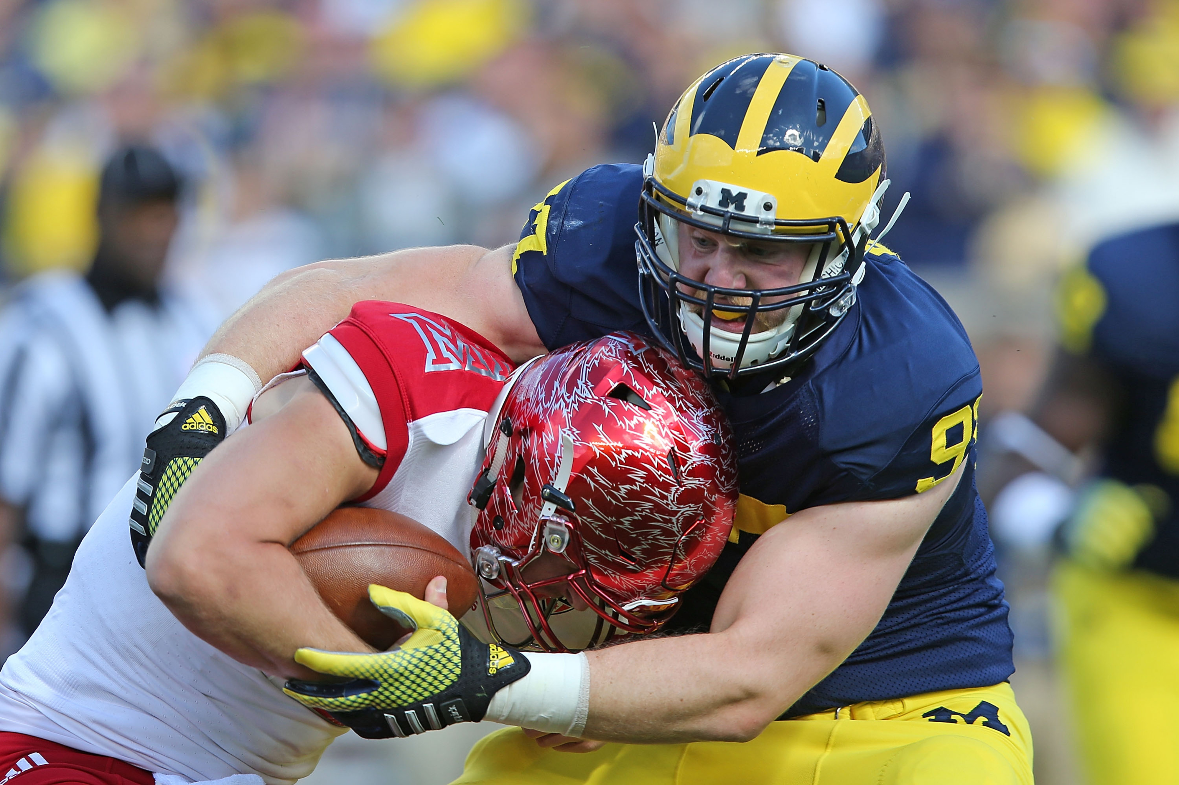 Michigan senior defensive end Brennen Beyer, along with his cohorts on the Wolverine D-line, will test Utah's offensive line,